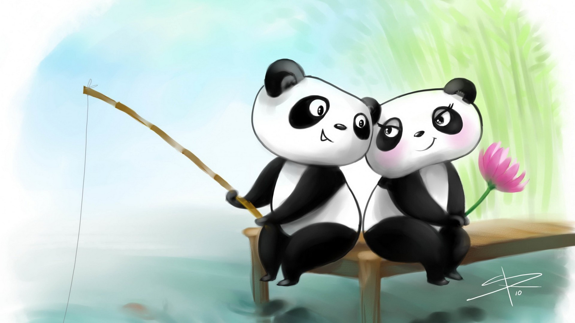 Res: 1920x1080, Cute Couple Panda Wallpaper
