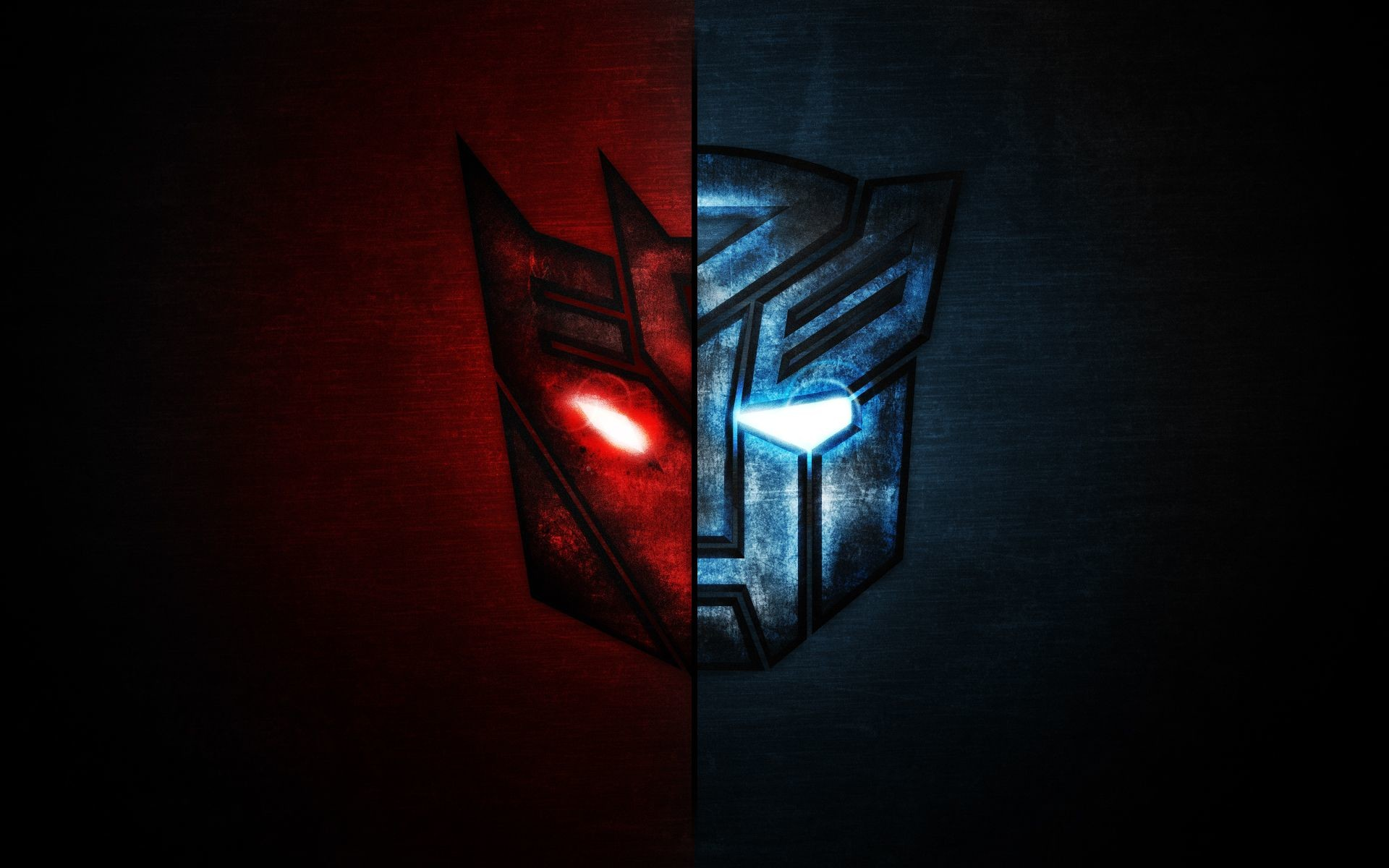 Res: 1920x1200, Transformers - Split Decepticons + Autobots logo in high contrast