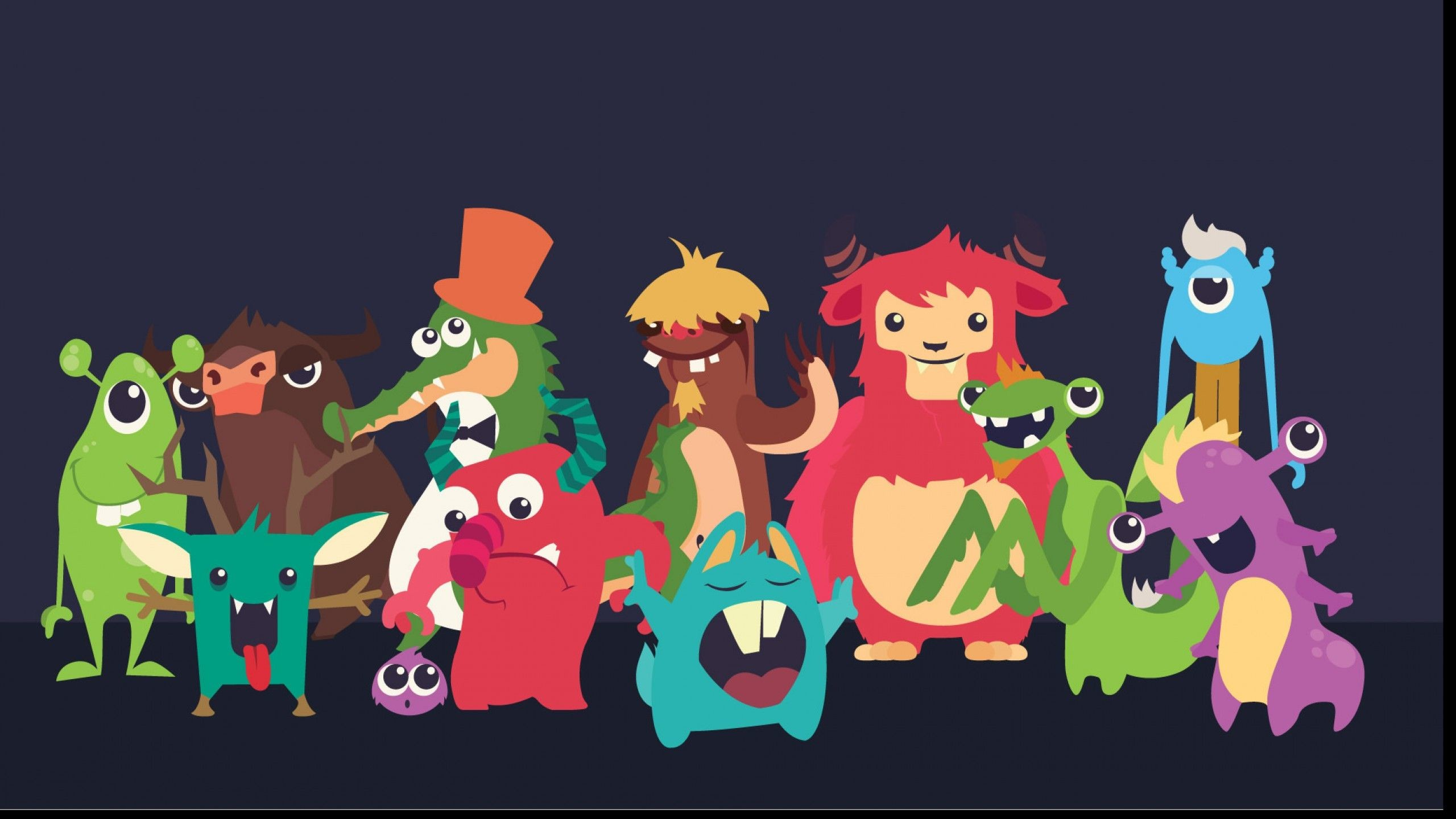 Res: 2560x1440, Wallpapers For > Cute Monsters Wallpaper