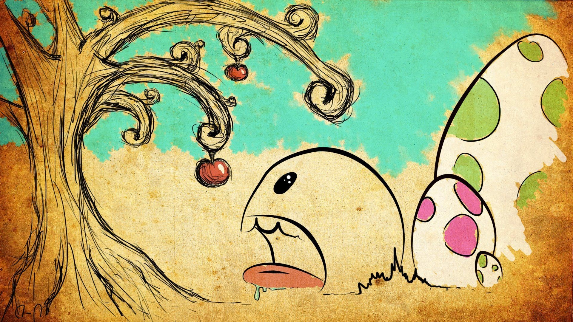 Res: 1920x1080, Cute monster trying to eat the apple HD Wallpaper