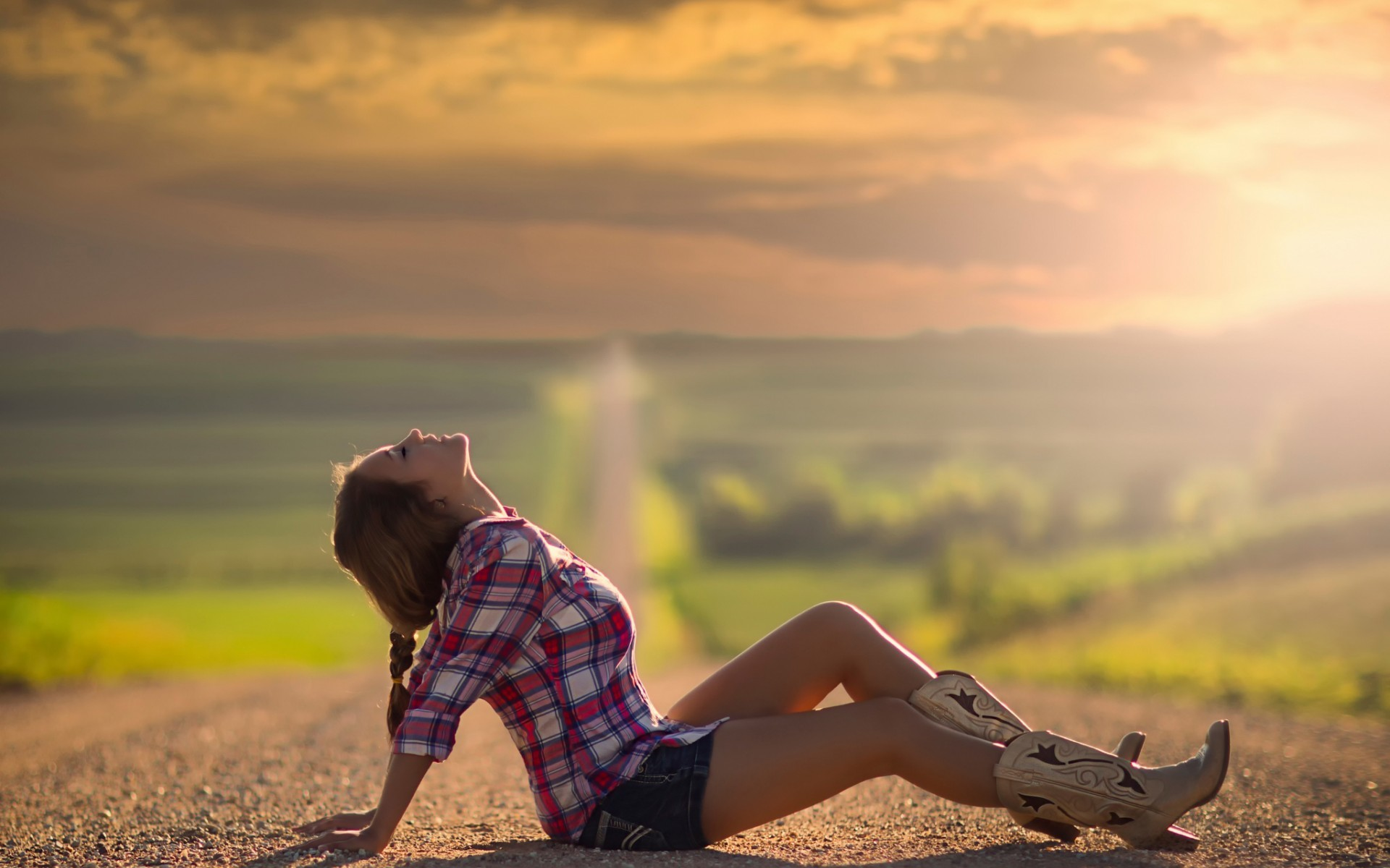 Res: 1920x1200, Women - Model Boots Depth Of Field Girl Cowgirl Wallpaper