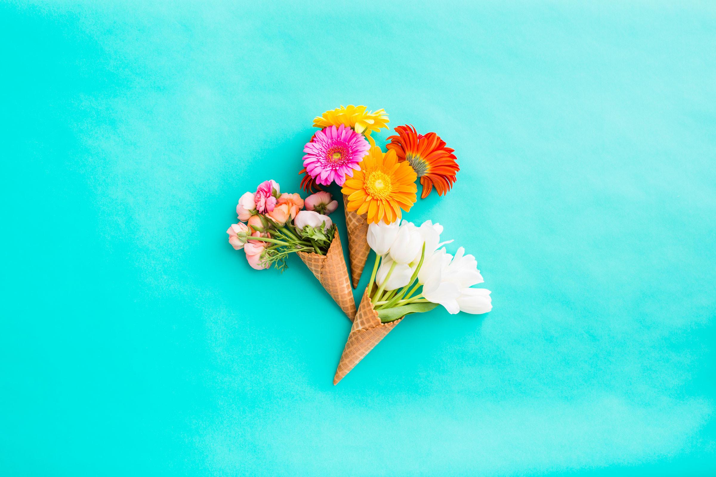 Res: 2400x1600, Download Floral Bunch of Ice Cream Cones
