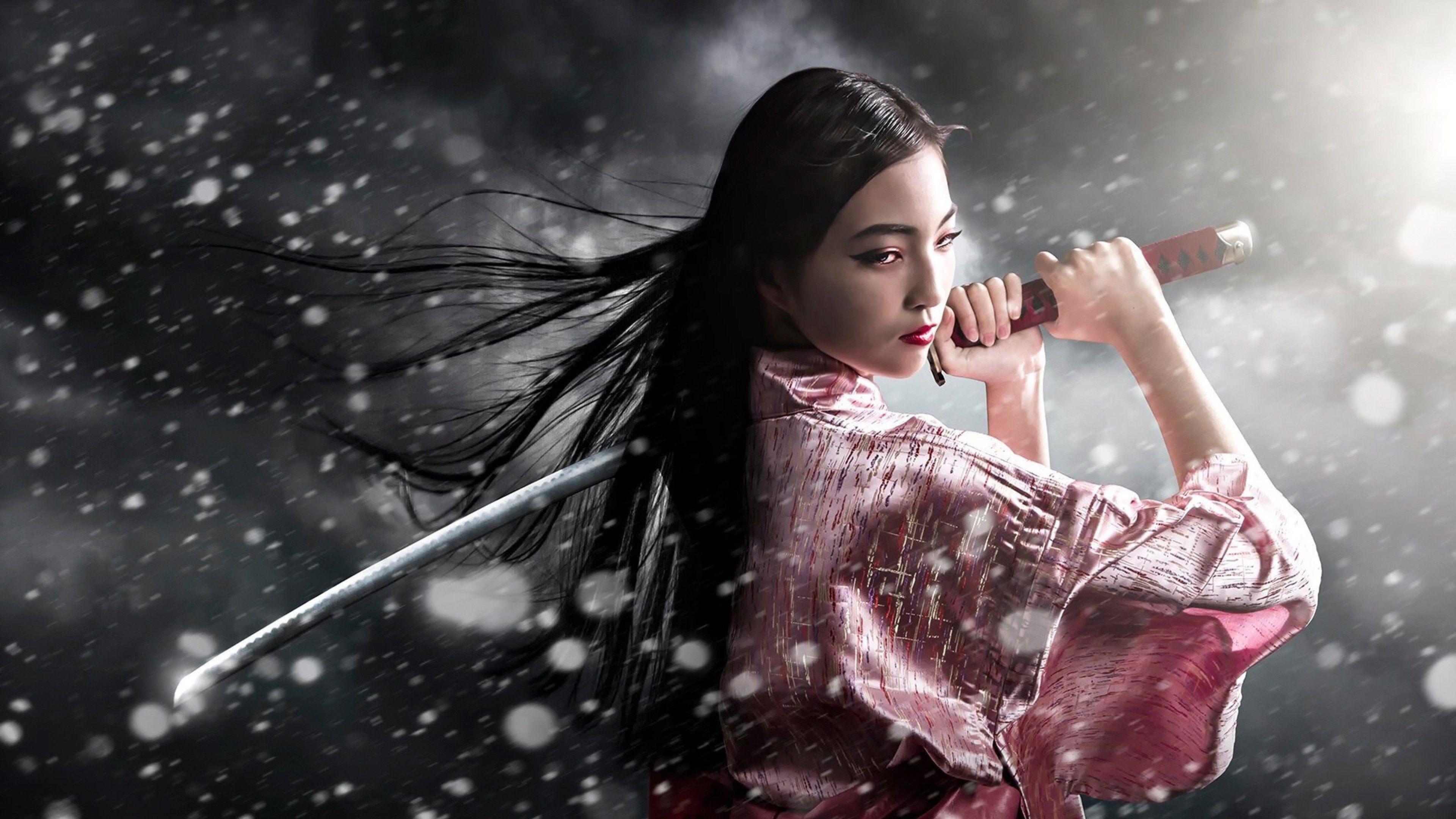 Res: 3840x2160, Samurai Girl [ wallpaper Fantasy wallpapers