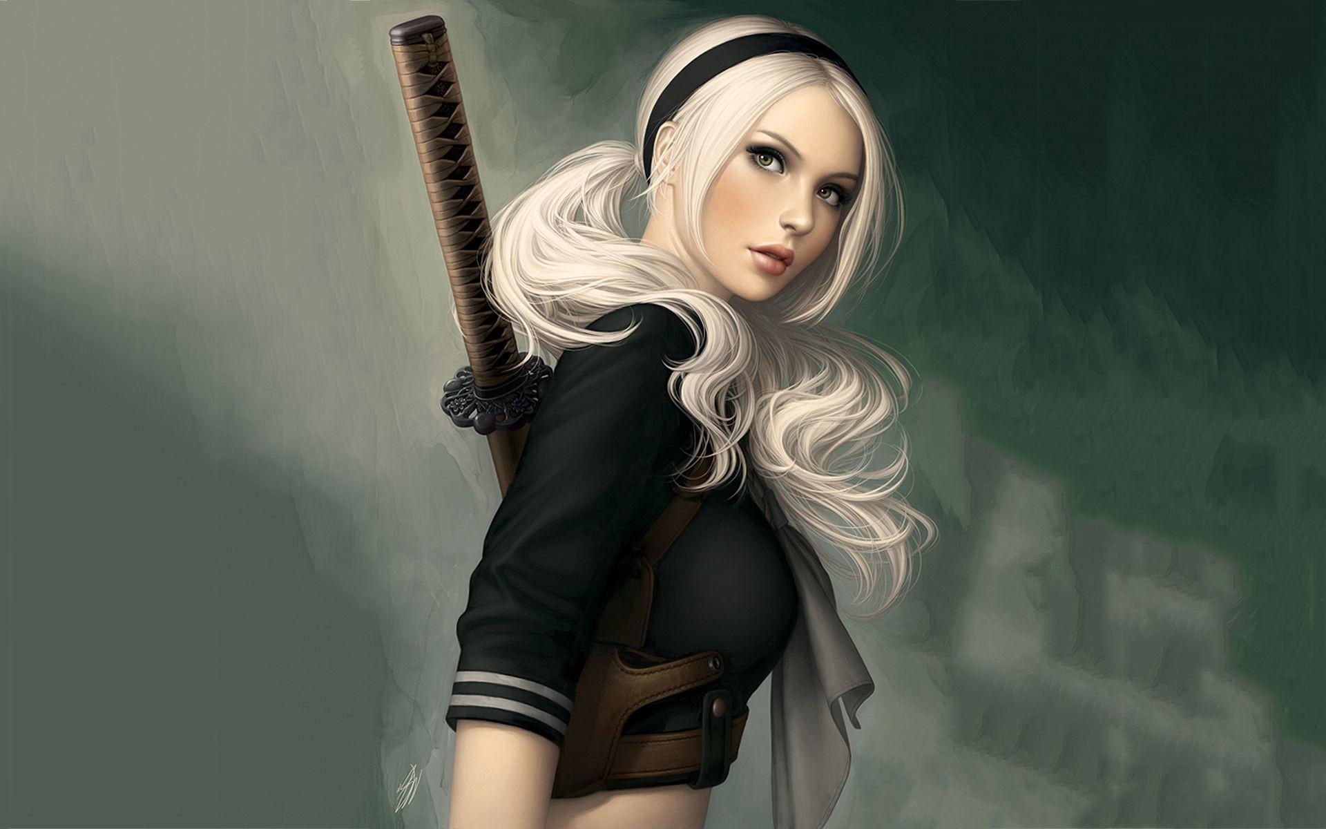 Res: 1920x1200, Samurai Blonde Girl Wallpapers - http://hdwallpapersf.com/samurai-blonde- girl-wallpapers