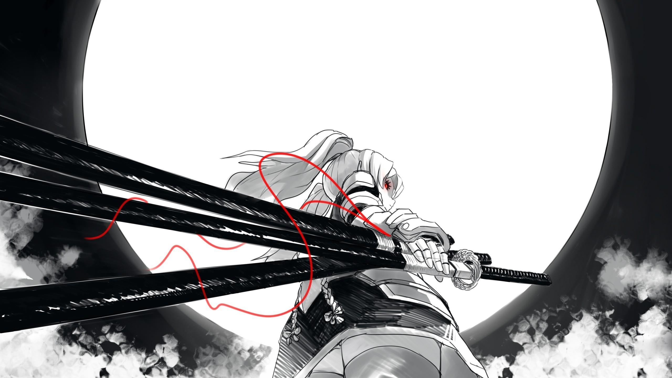 Res: 2560x1440, Samurai girl Wallpaper