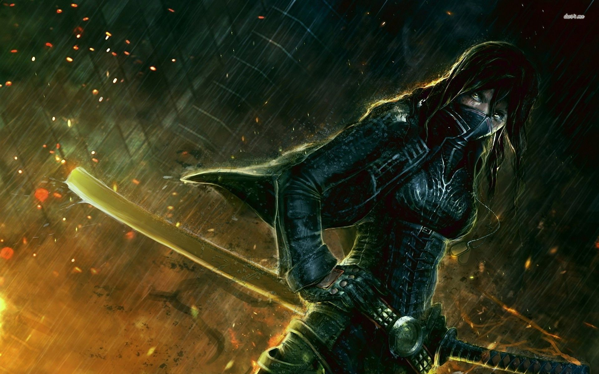 Res: 1920x1200, ... Samurai warrior girl in the rain wallpaper  ...