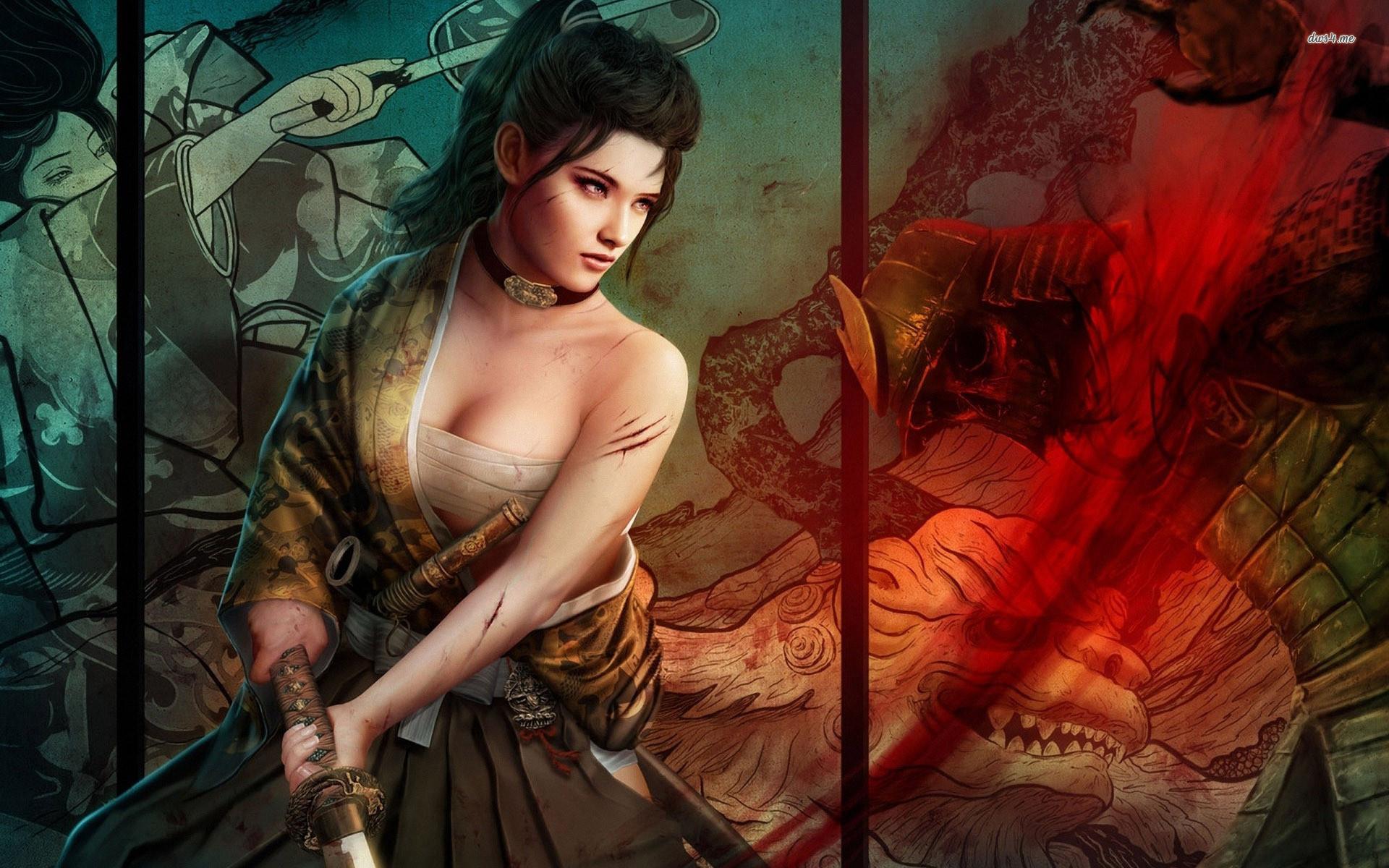 Res: 1920x1200, ... Samurai girl wallpaper  ...