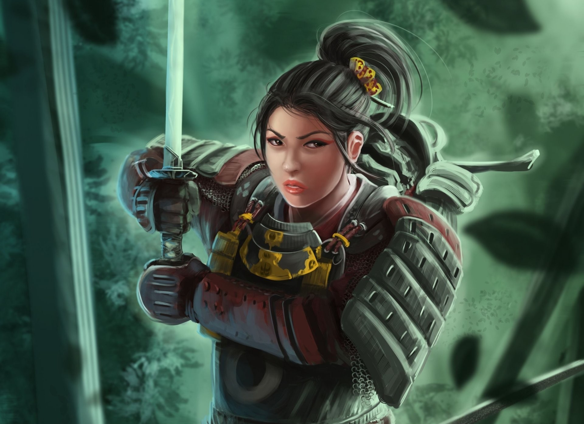 Res: 1920x1396, art samurai girl katana armour