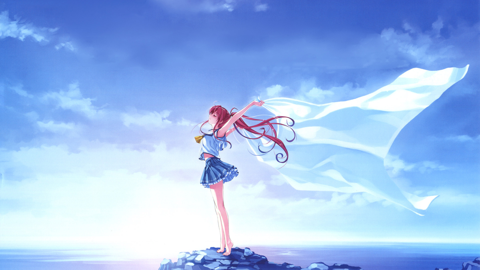 Res: 1920x1080, Anime - Deep Blue Sky & Pure White Wings Anime Wallpaper