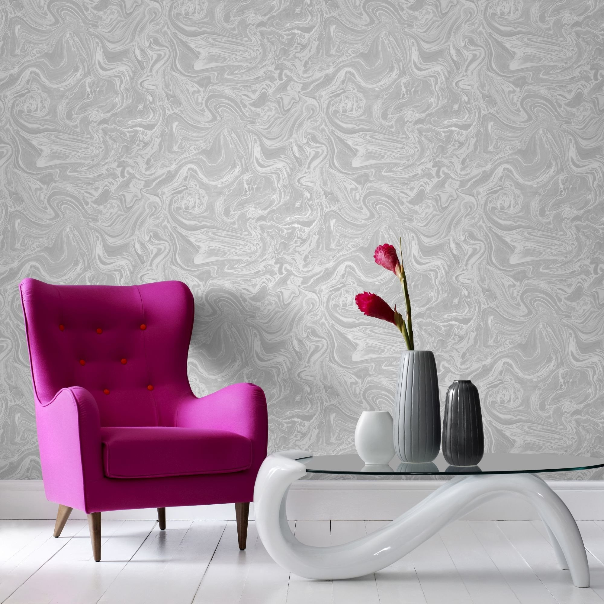 Res: 2000x2000, Marbled Wallpaper in Grey and White from the Pure Collection by Graham &  Brown