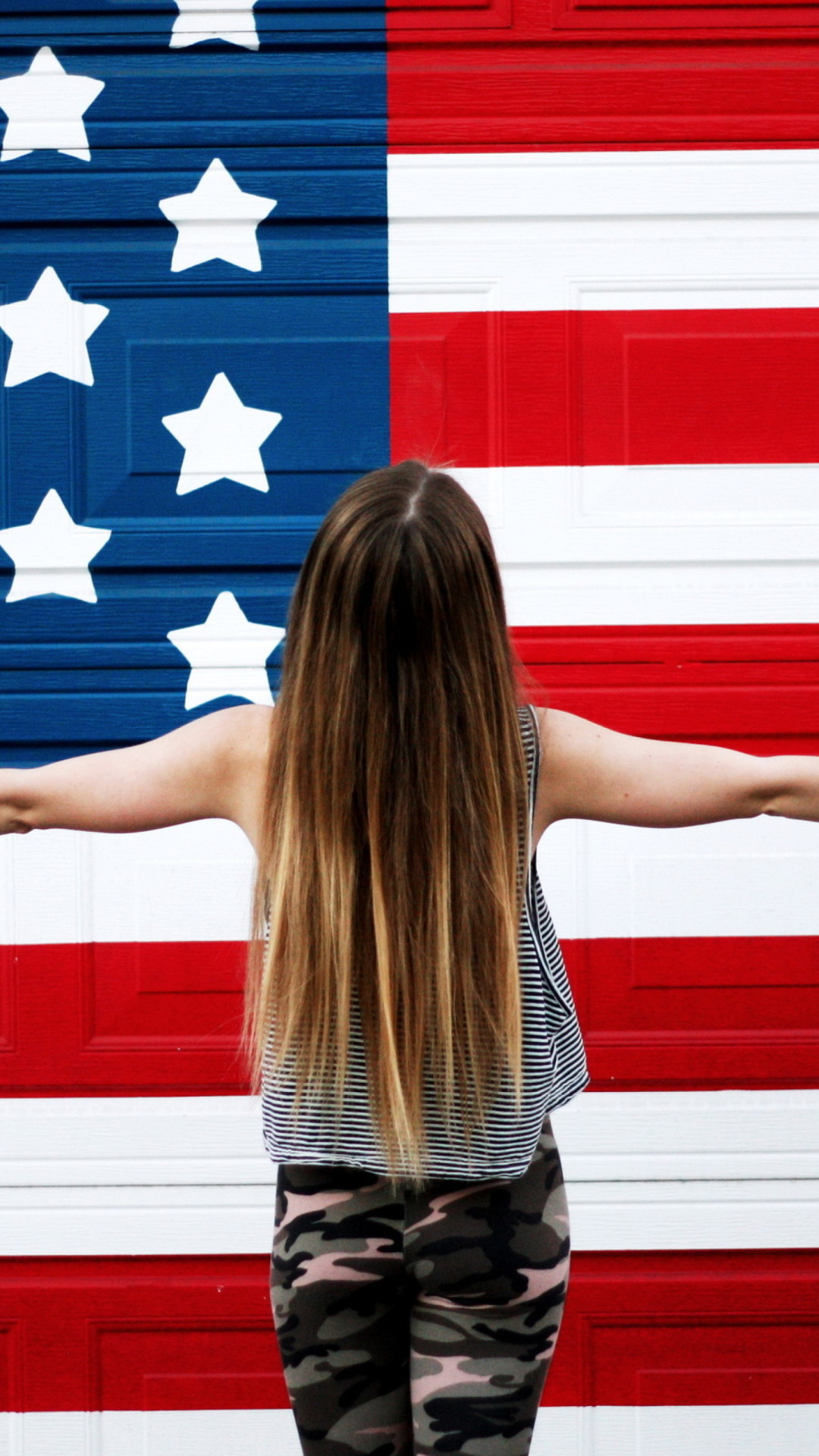 Res: 1080x1920, American girl in front usa flag iphone wallpapers