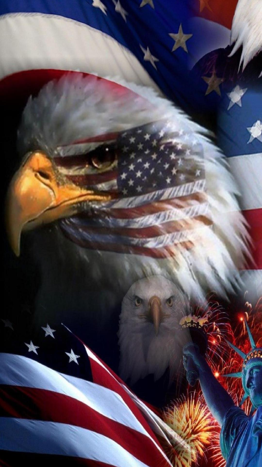 Res: 1080x1920, USA Flag Eagle Wallpaper