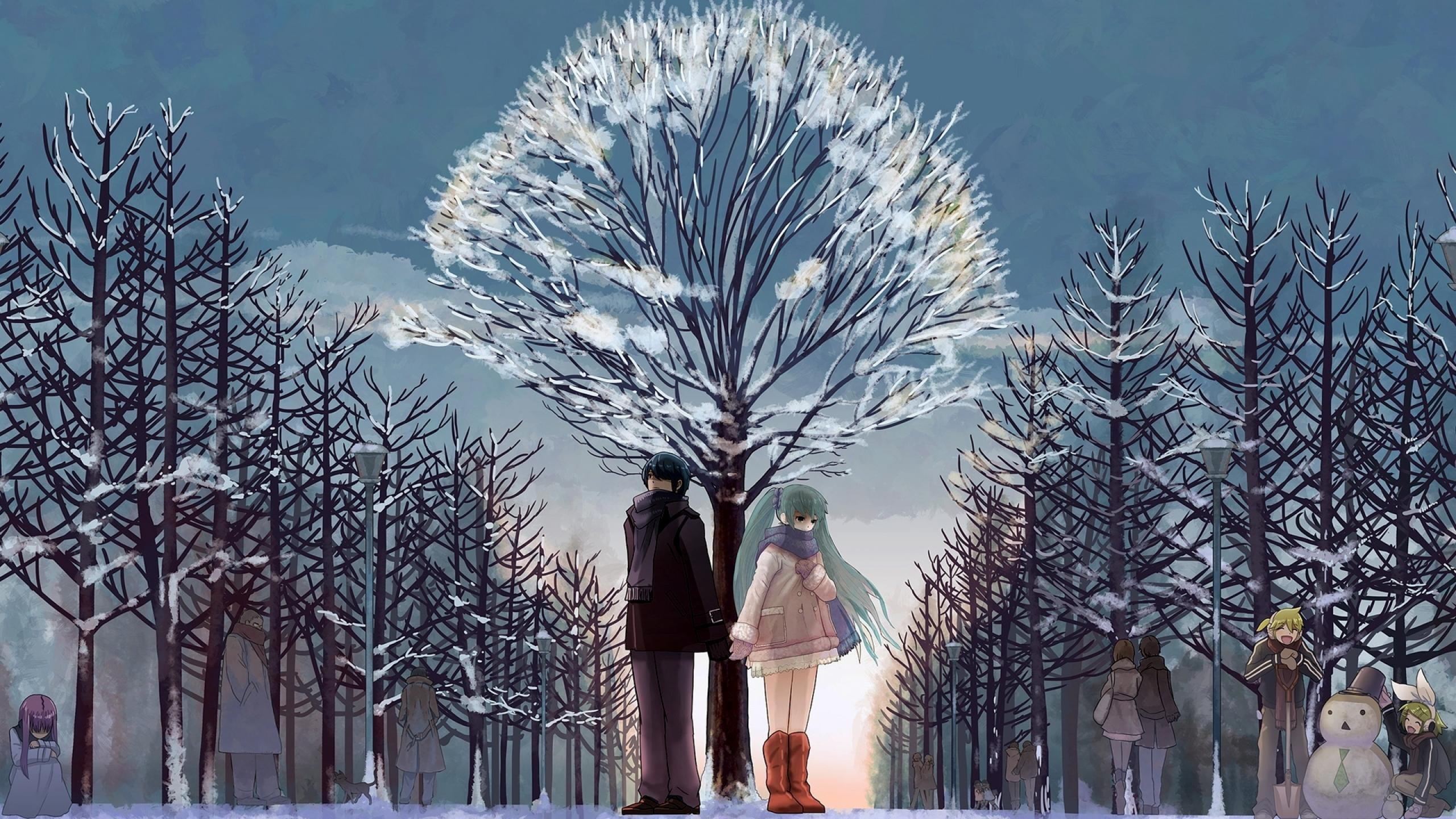 Res: 2560x1440, Animated couple in Christmas snow