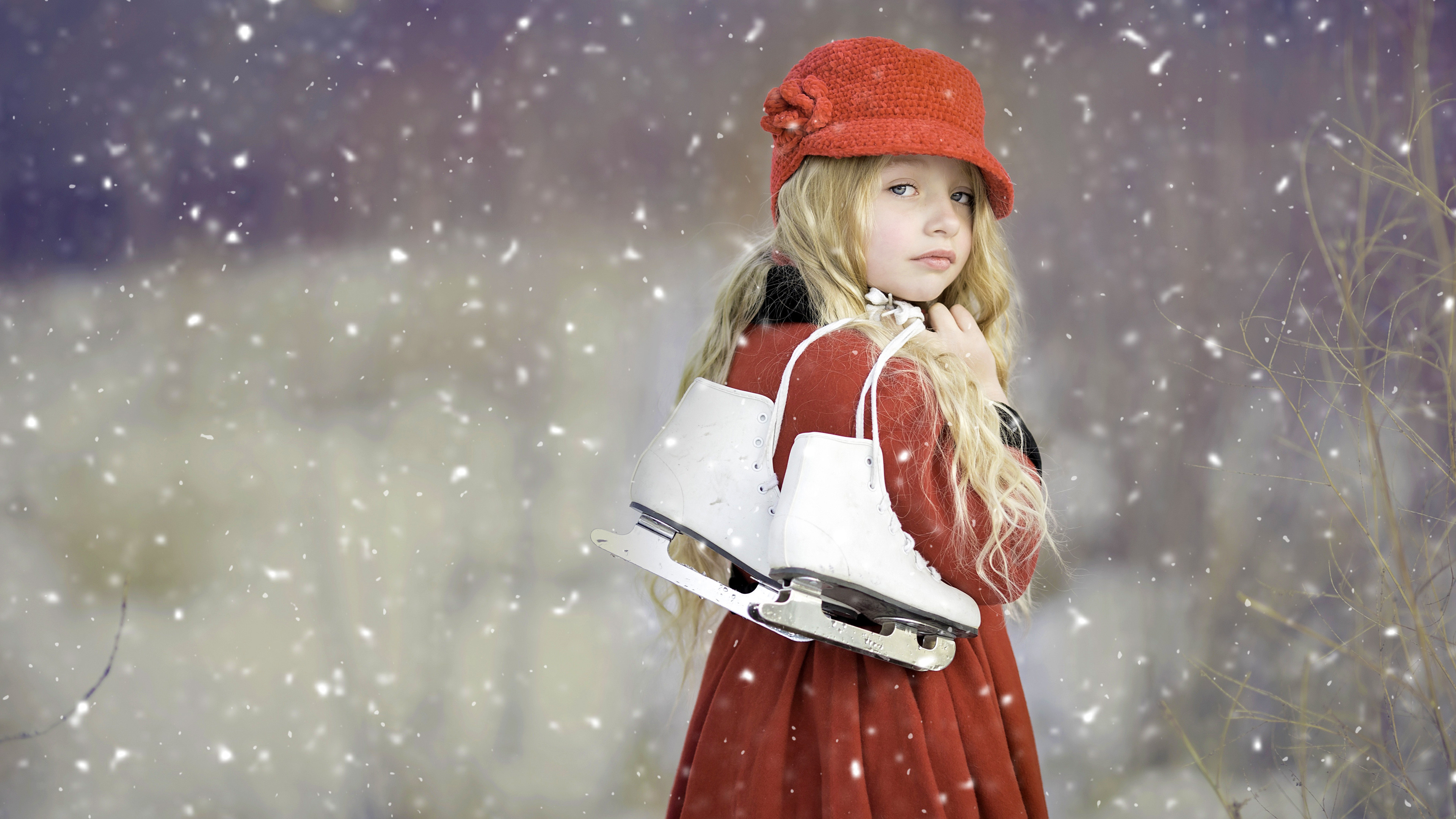 Res: 3840x2160, Cute Girl Ice Skates Wallpaper