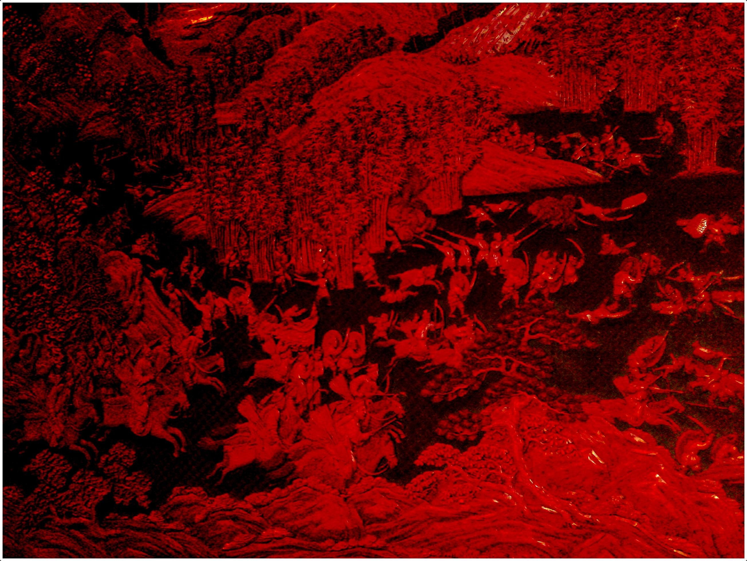 Res: 2610x1962, Carved red chinese battle scene wallpaper