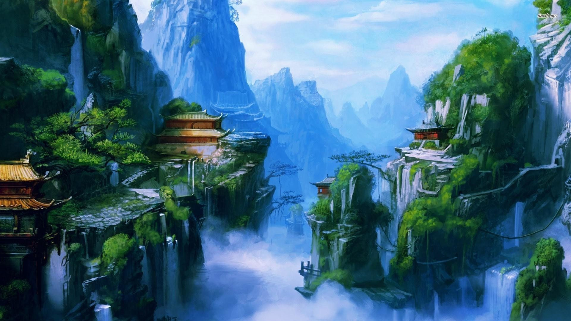 Res: 1920x1080, Chinese Village On Mountains Wallpapers
