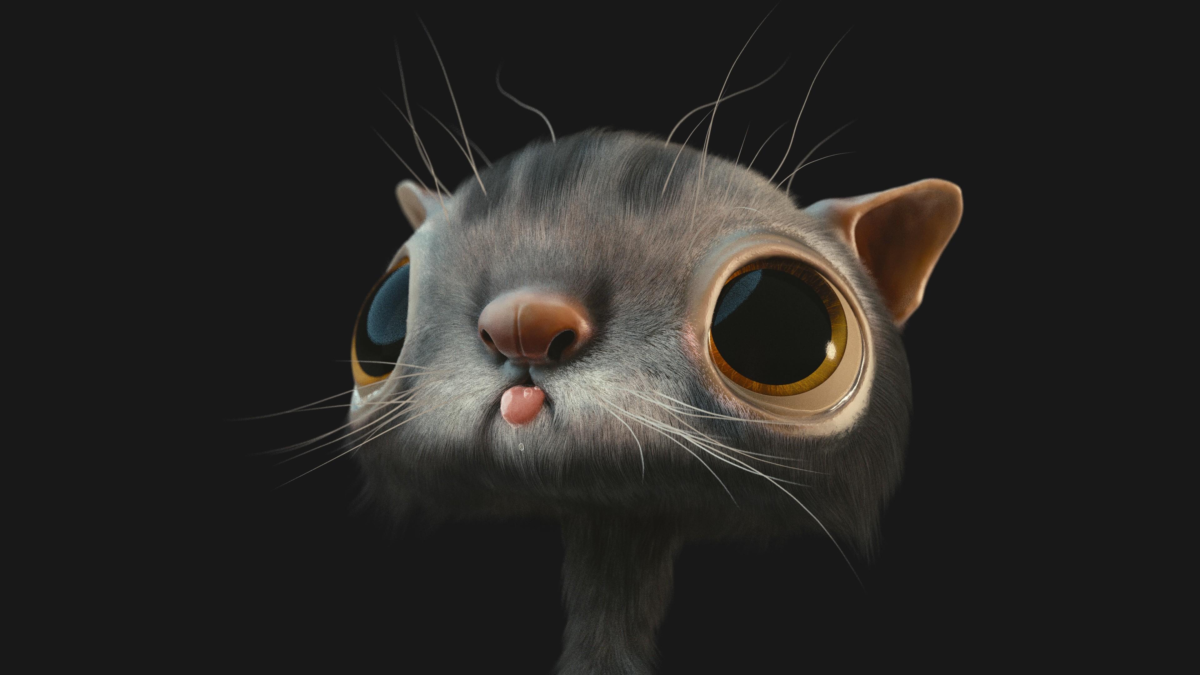 Res: 3840x2160, 3D Cat