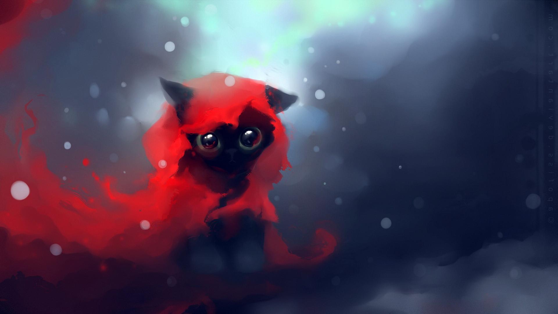 Res: 1920x1080,  Download Wallpaper  Cat, Drawing, Art, Apofiss Full HD