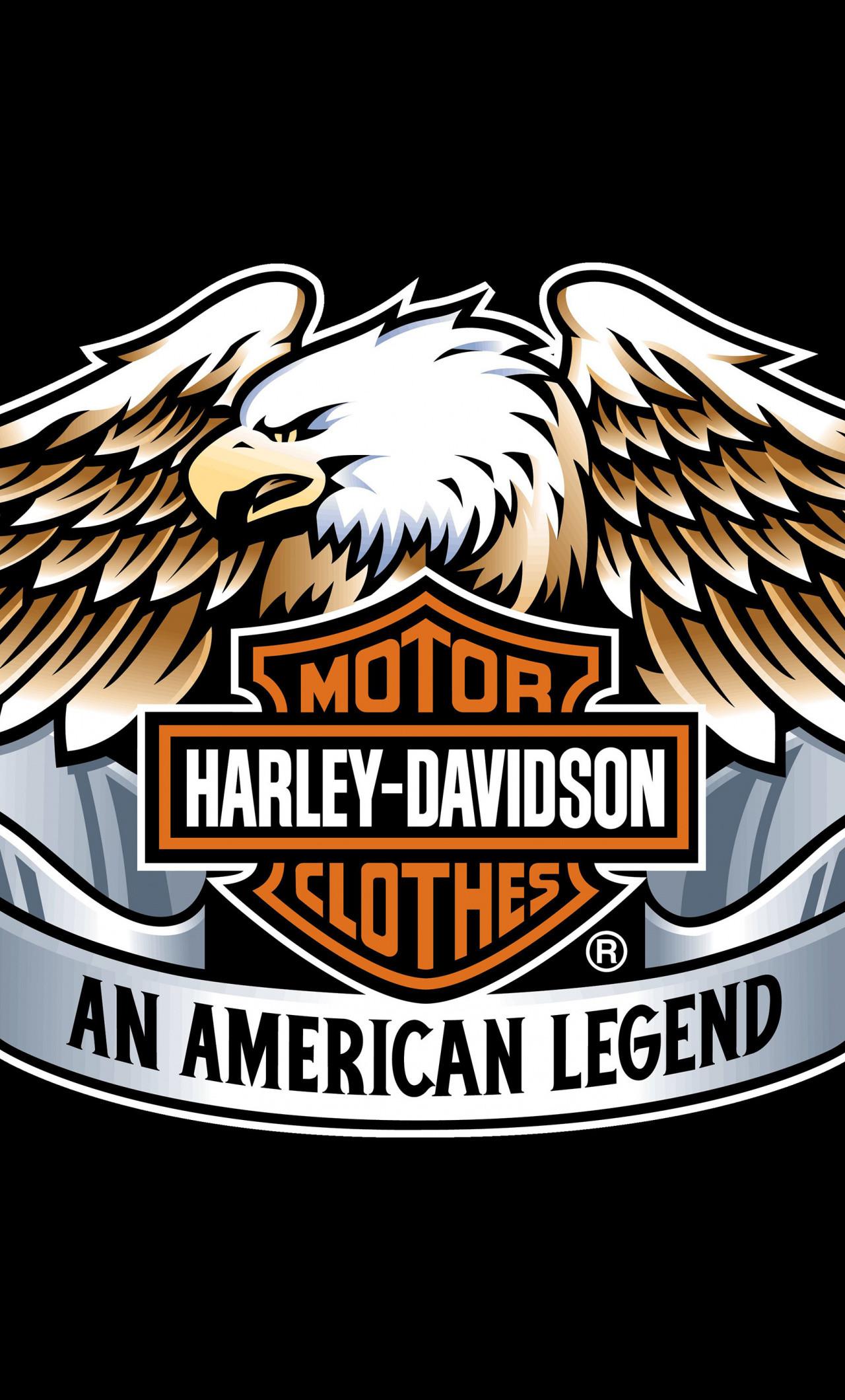 Res: 1280x2120,  wallpaper Harley-Davidson, eagle, logo, typography, 4k