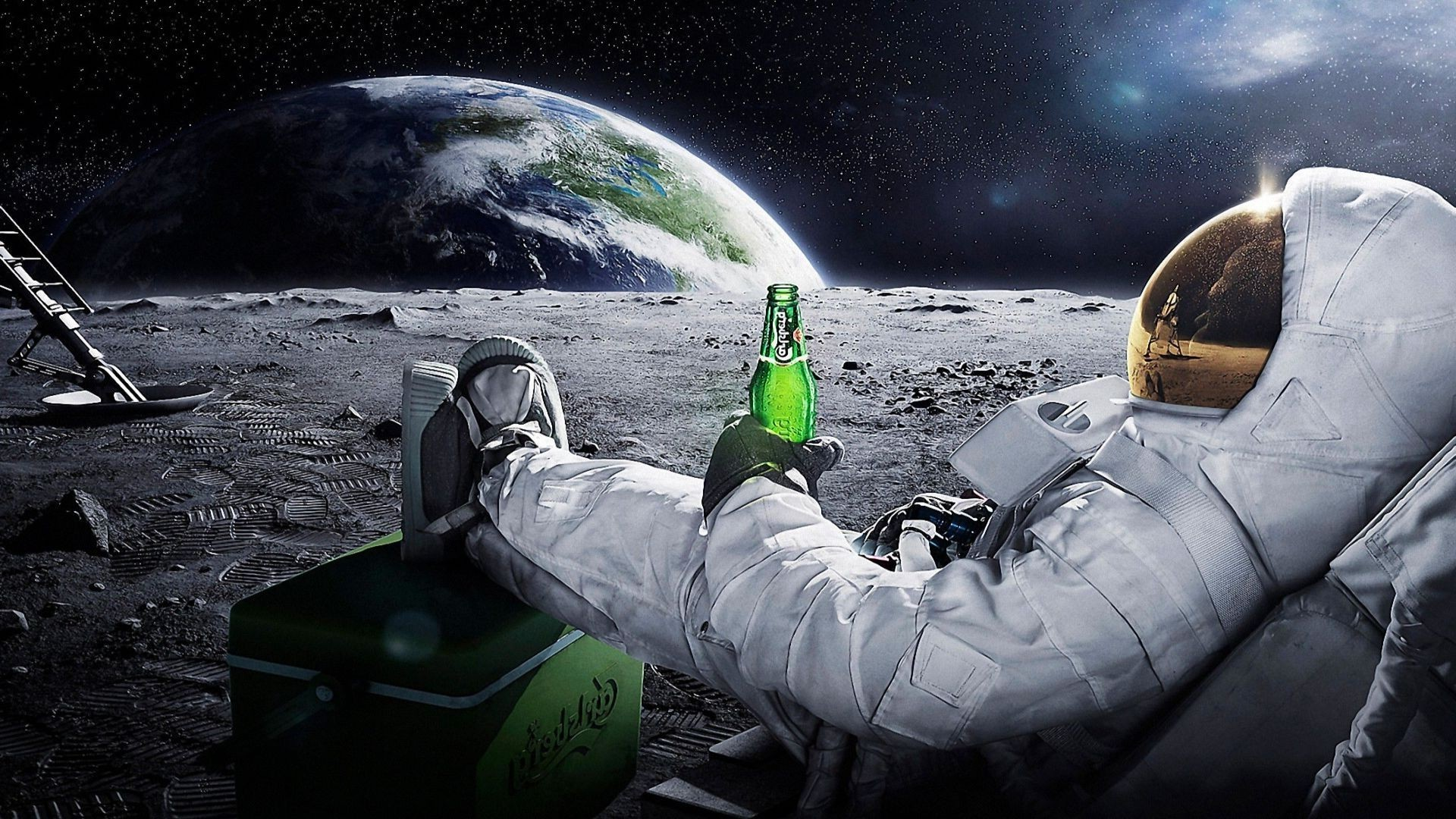 Res: 1920x1080, moon, Space, Astronaut, Earth, Beer Wallpapers HD / Desktop and Mobile  Backgrounds
