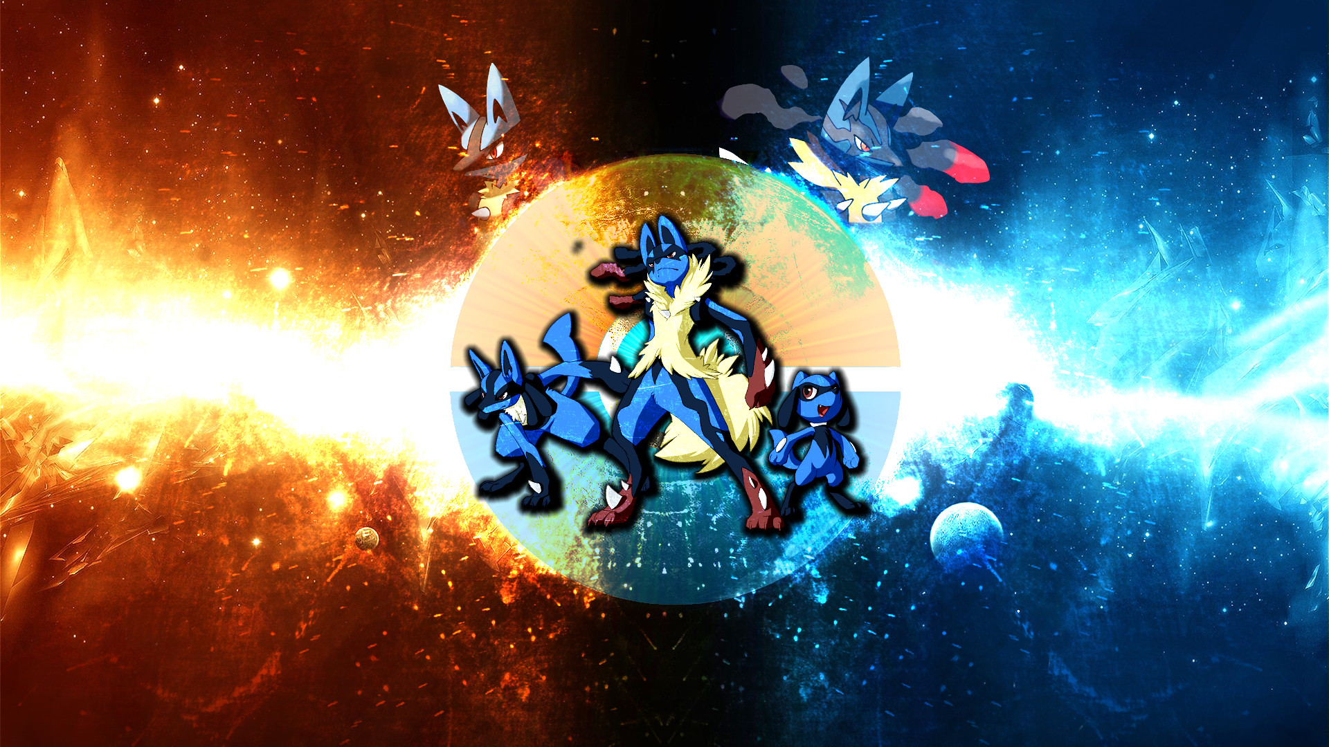 Res: 1920x1080, The Lucario Wallpaper by FRUITYNITE