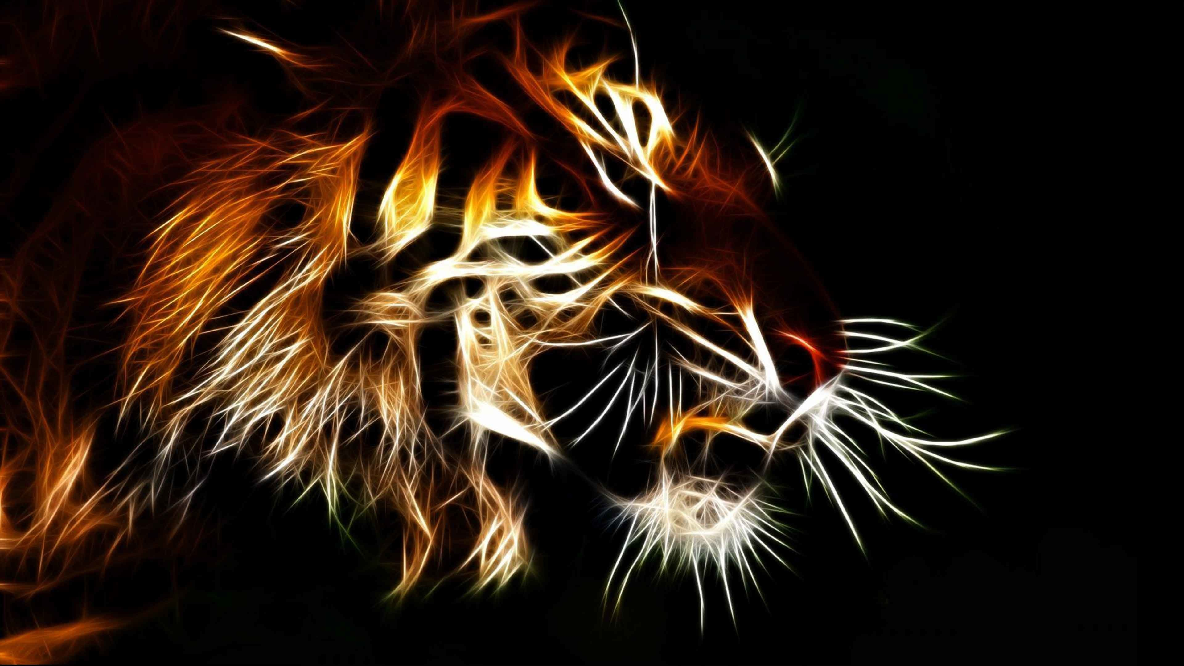 Res: 3840x2160, 3d Animated Tiger Wallpapers