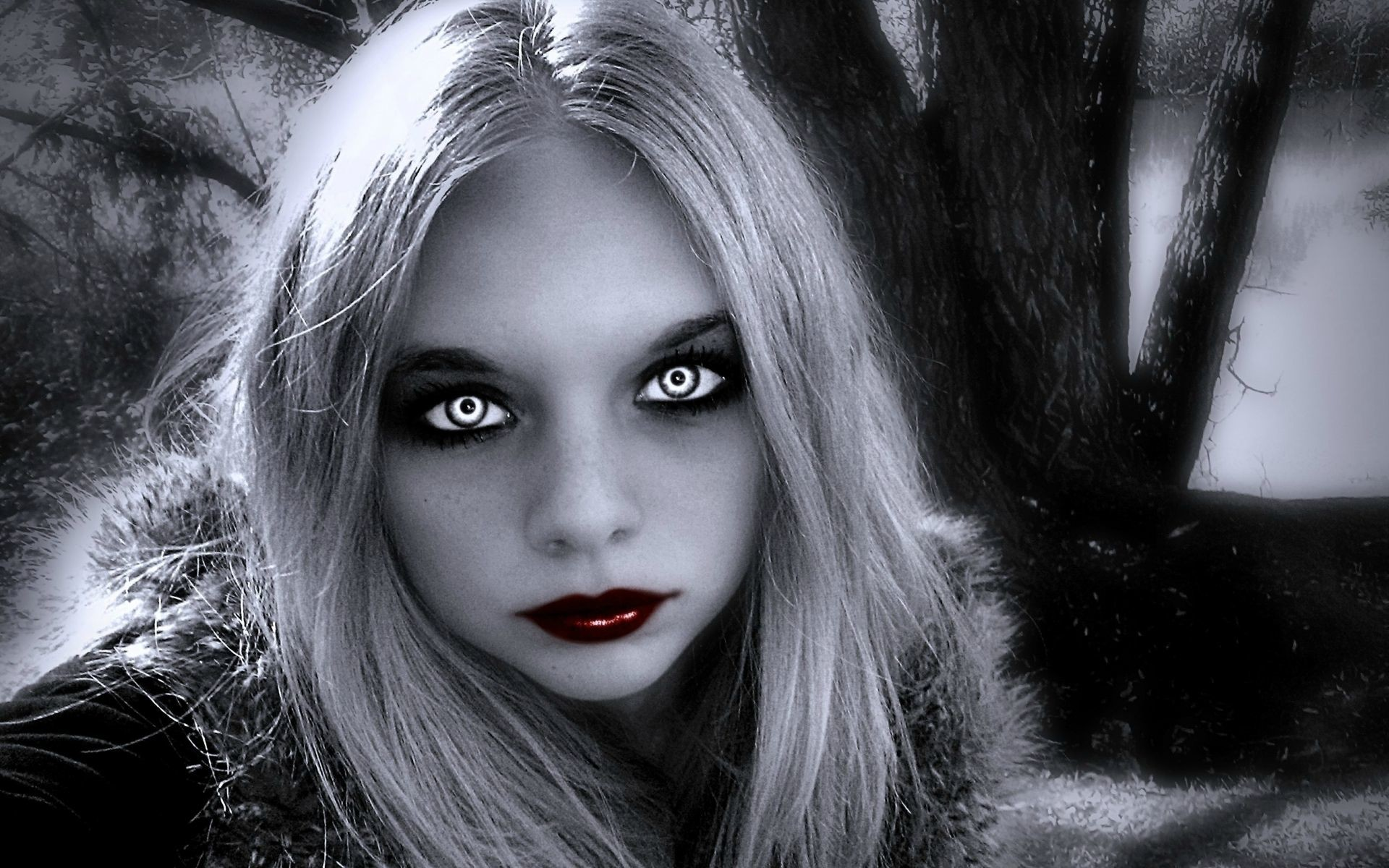 Res: 1920x1200, gothic women fantasy | dark horror gothic fantasy vamire women face eyes  wallpaper background