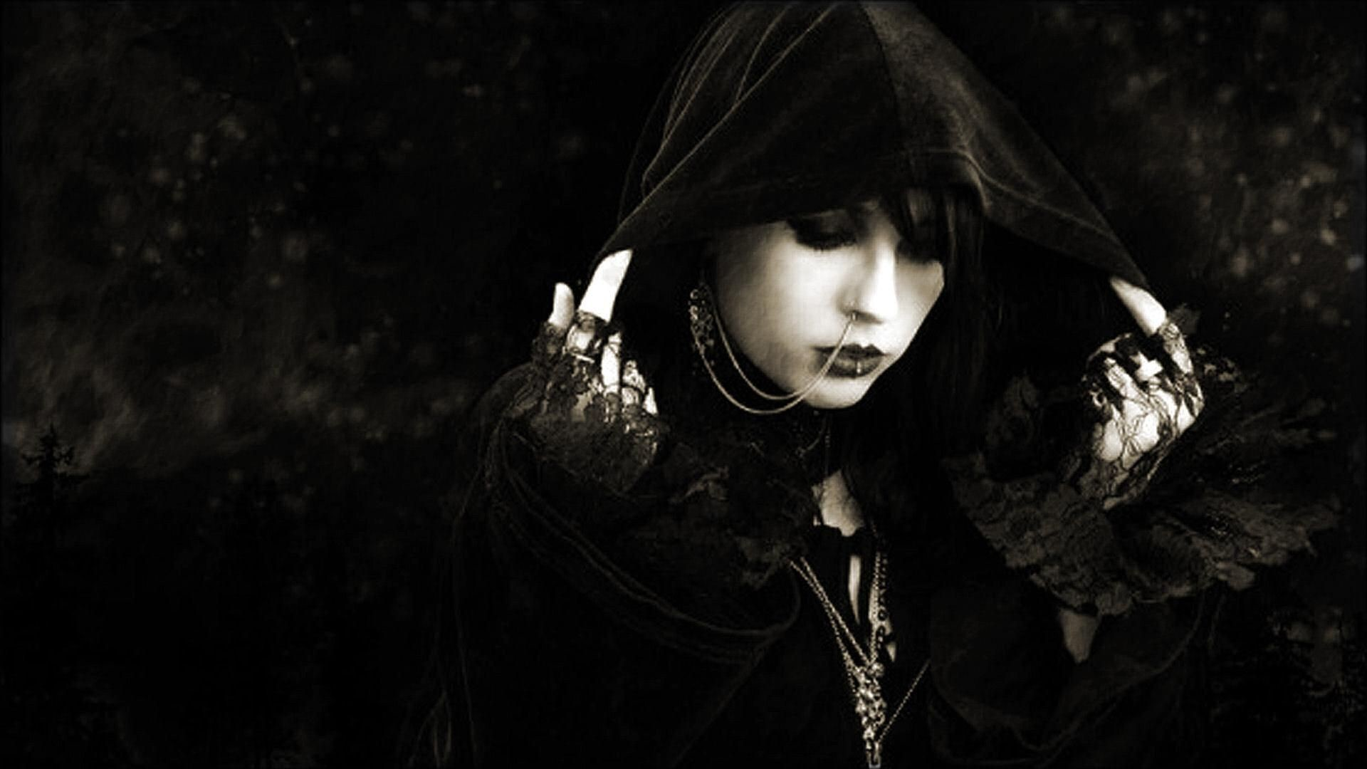 Res: 1920x1080, Dark Haired Gothic Girl | dark-girl-goth-gothic-mysterious-white-free-hd- wallpapers-100