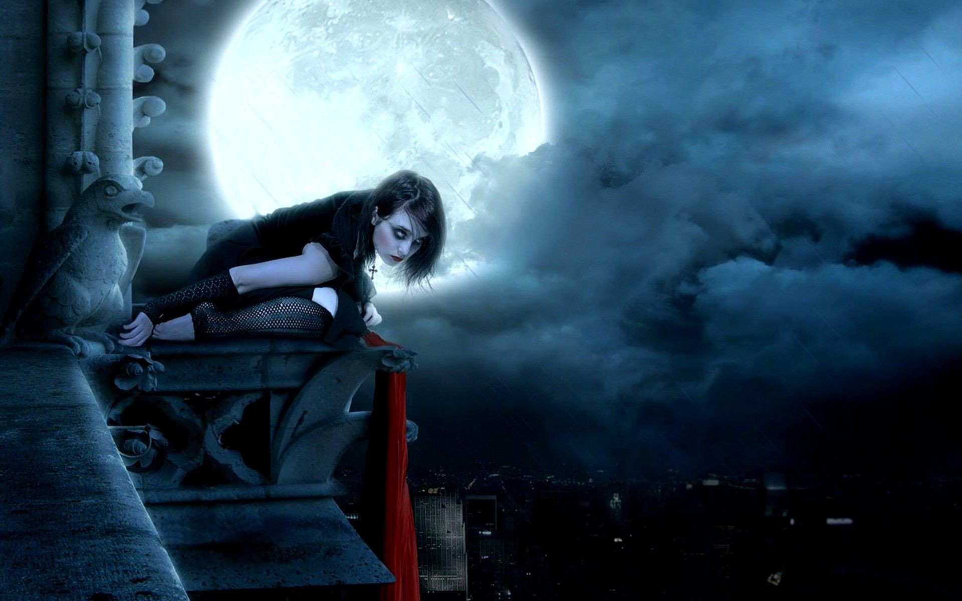 Res: 1920x1200, goth fantasy art | Moon Gothic Fantasy Art Fresh HD Wallpaper