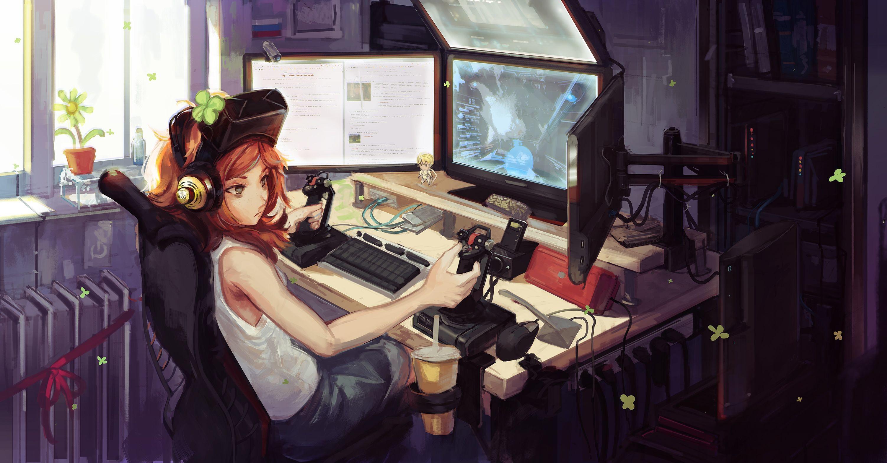 Res: 3004x1567, Gamer Girl wallpaper