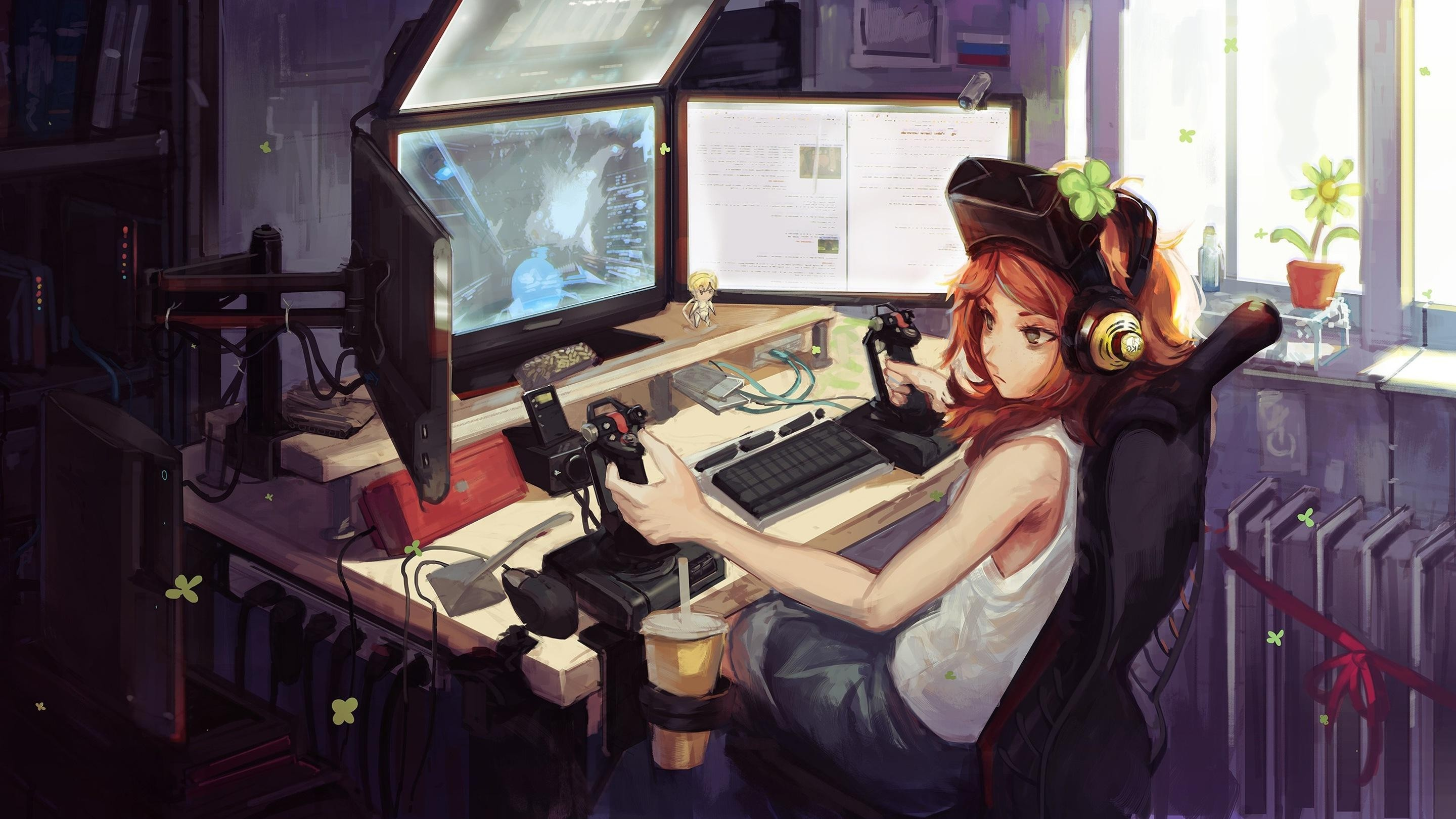 Res: 2880x1620, Awesome Anime Gamer Girl Wallpaper Download - best free gamer anime girl  art wallpaper hd images