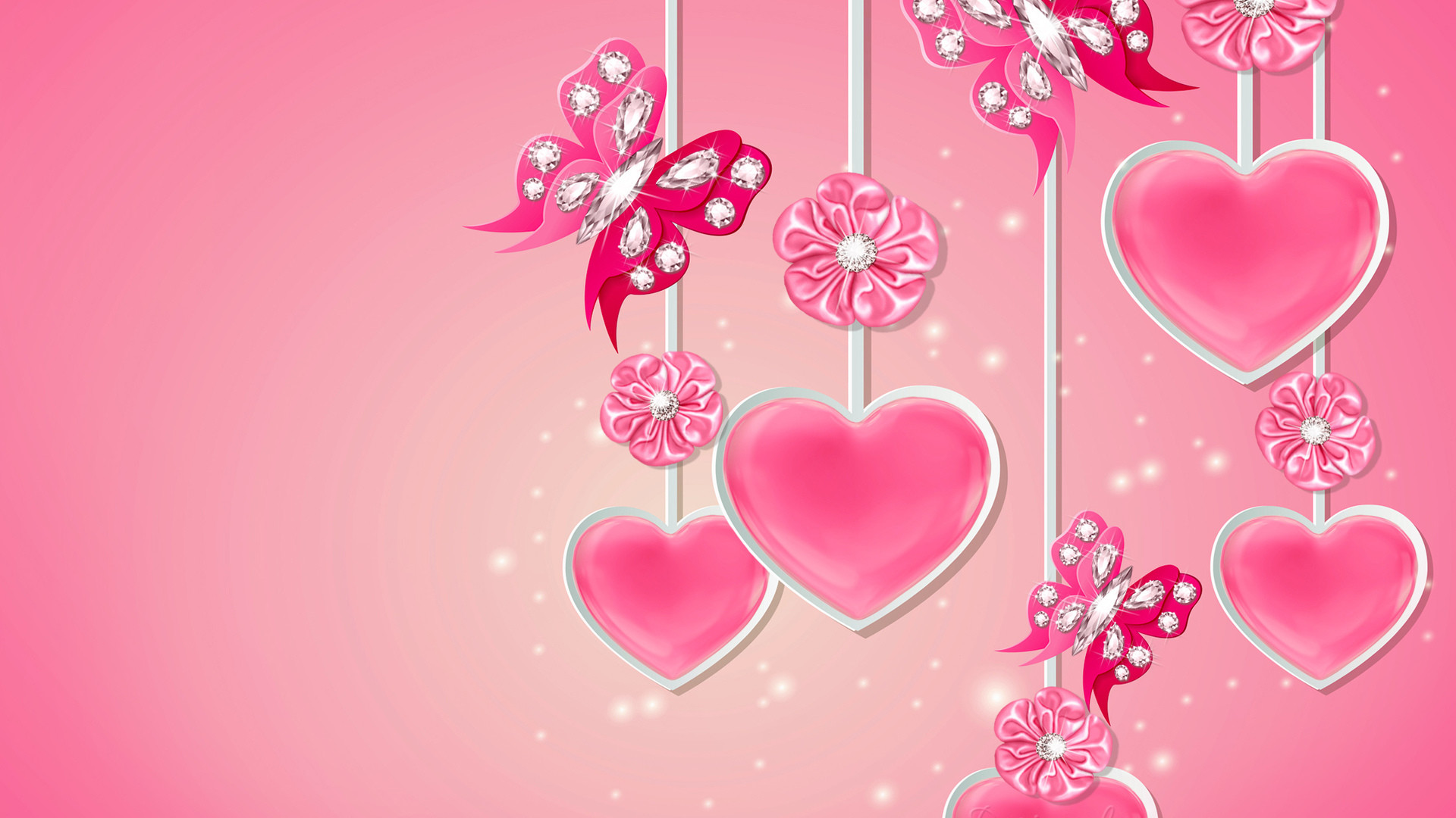 Res: 1920x1080, Pink hearts with diamonds