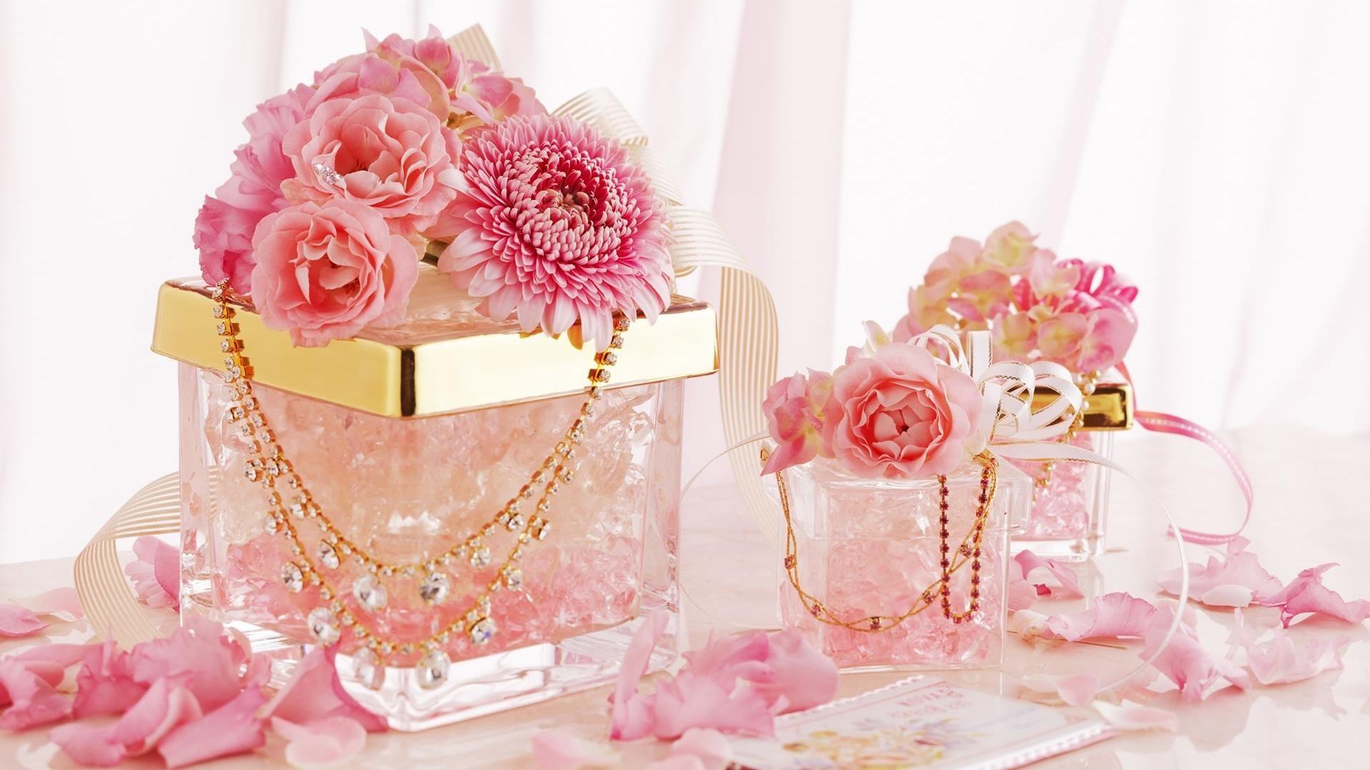 Res: 1920x1080, Fotografie - Stillleben Glas Pink Flower Petal Gold Diamond Schmuck  Chrysanthemen Rose Blume Wallpaper
