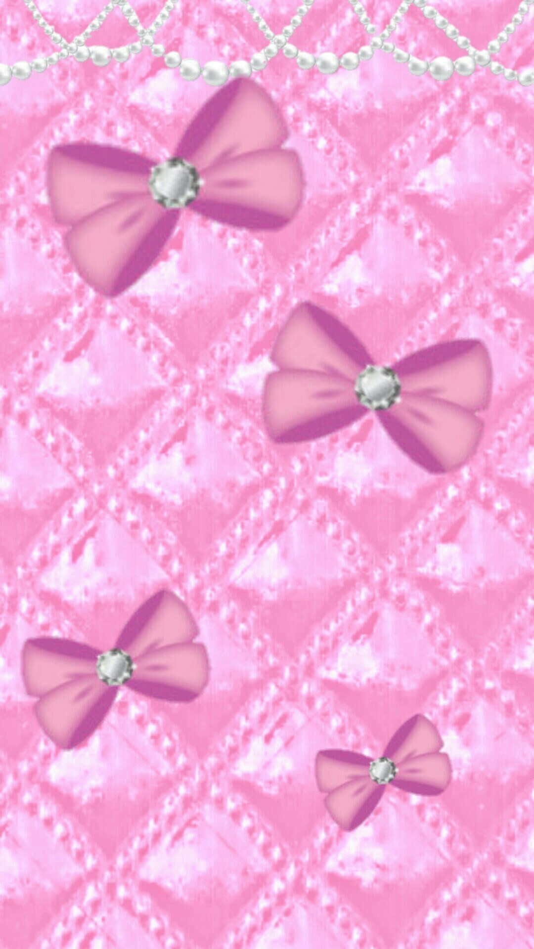 Res: 1080x1920, Pink Diamond Wallpaper Awesome Pink Bows Upholstry and Pearls Wallpaper  Background iPhone