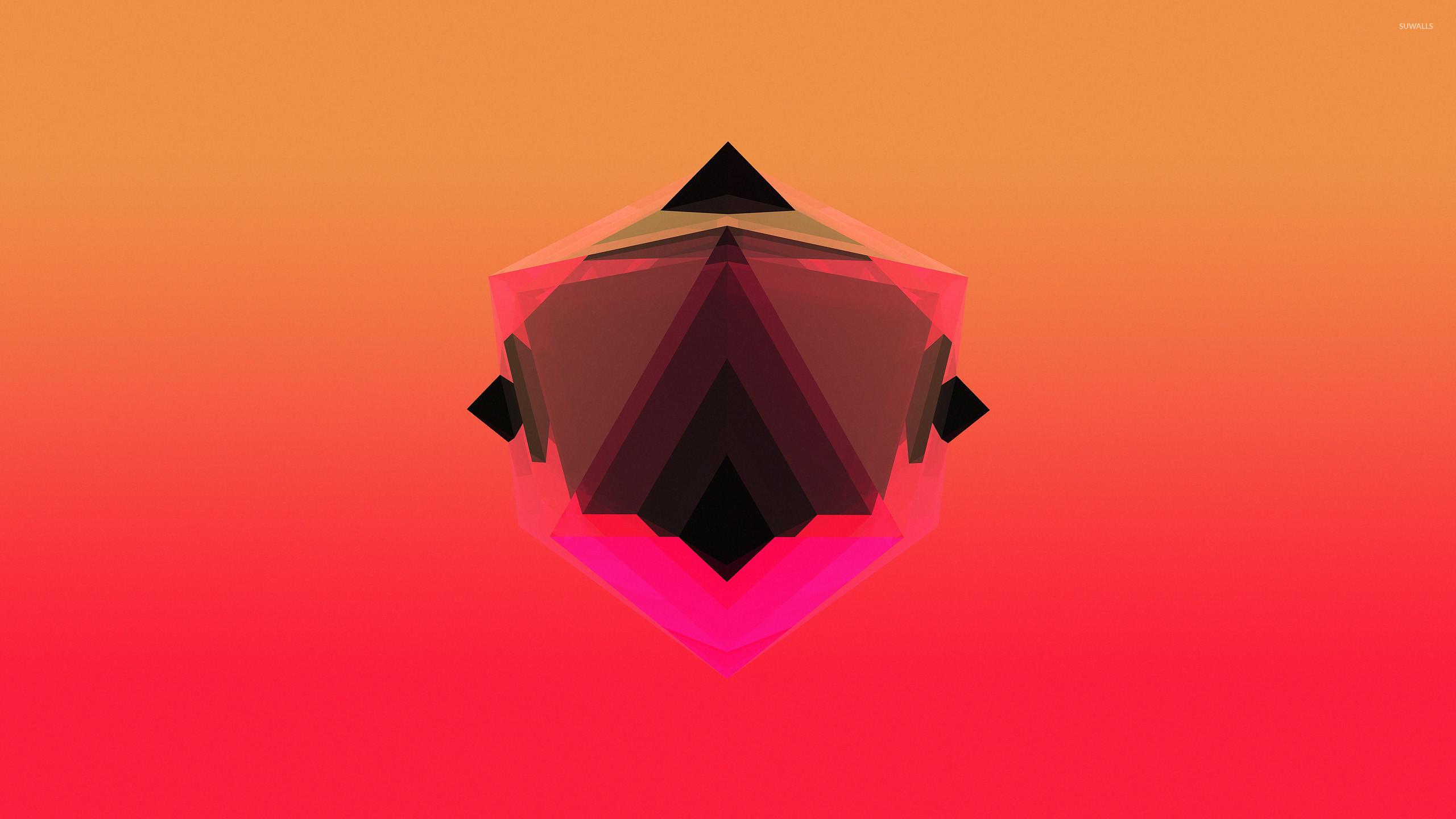 Res: 2560x1440, Dark shape inside a pink diamond wallpaper