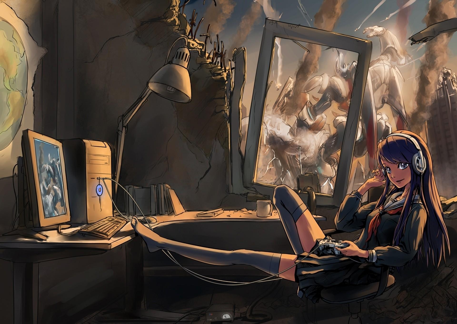 Res: 1920x1359, Anime Gamer Girl HQ Desktop Wallpaper 21382