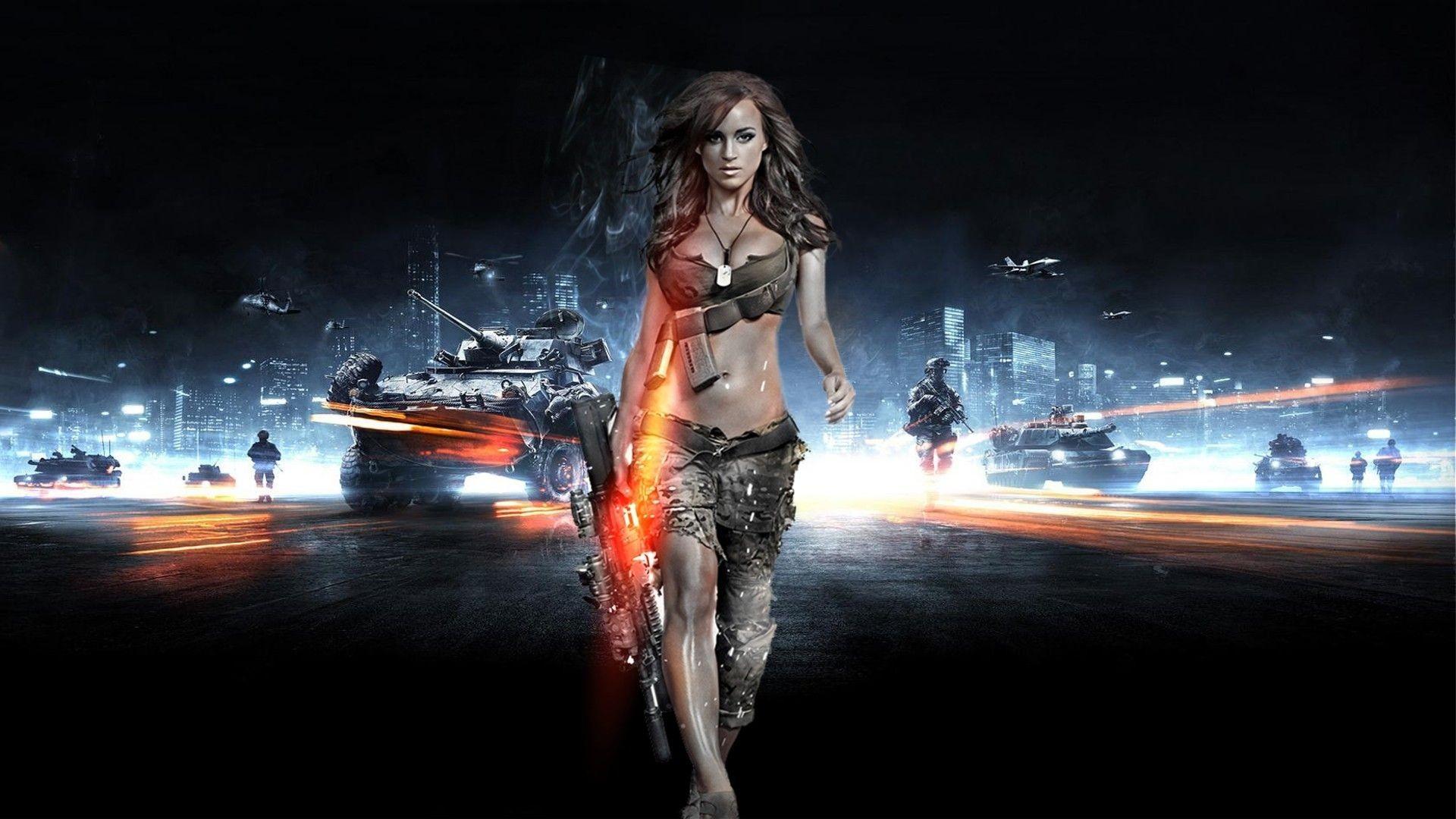 Res: 1920x1080, People  Rosie Jones Battlefield 3 gun video games Photoshop girls  with guns