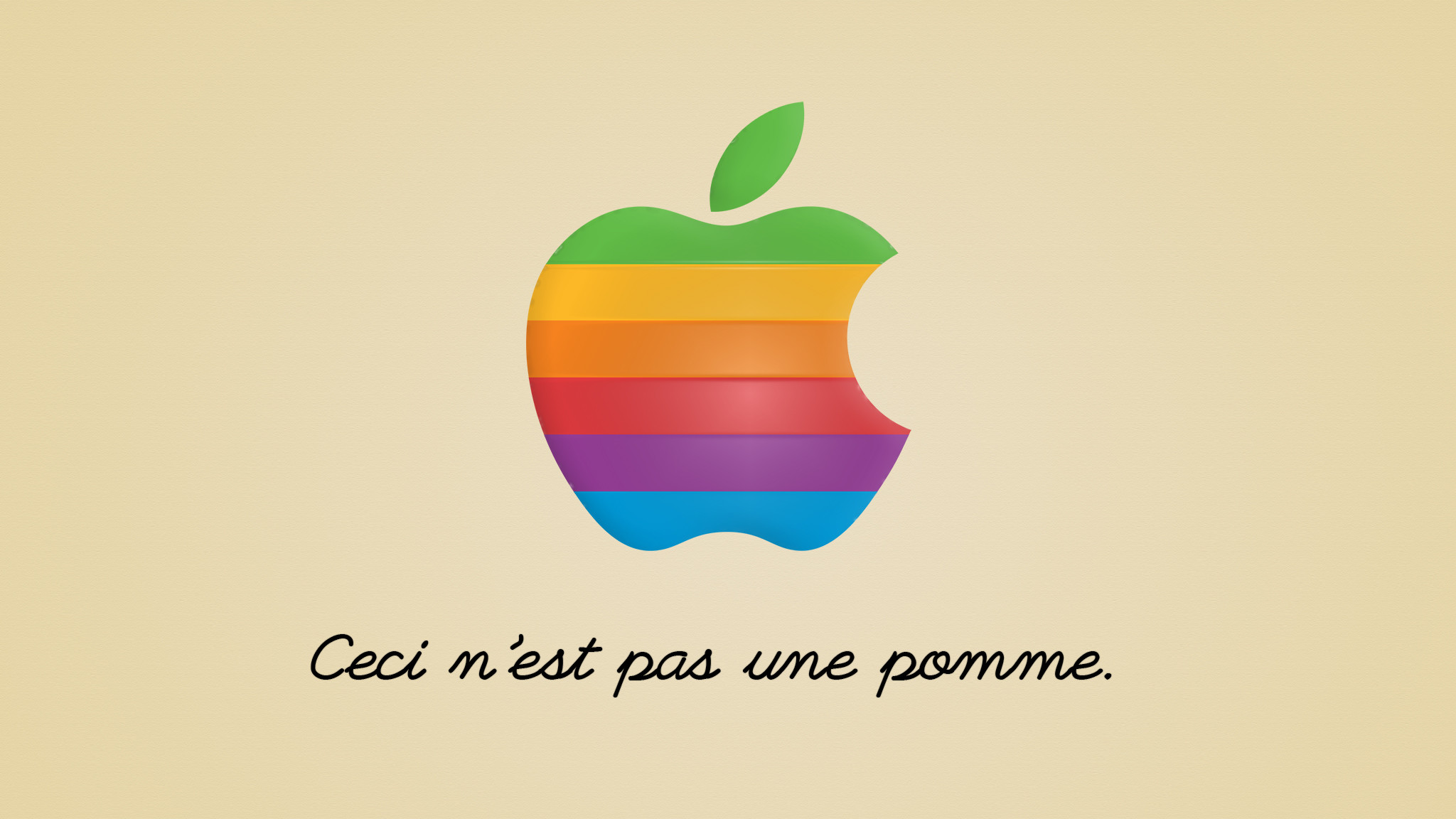 Res: 2048x1152, ... Magritte,The Treachery of Images-Apple's Old Logo by Camtama
