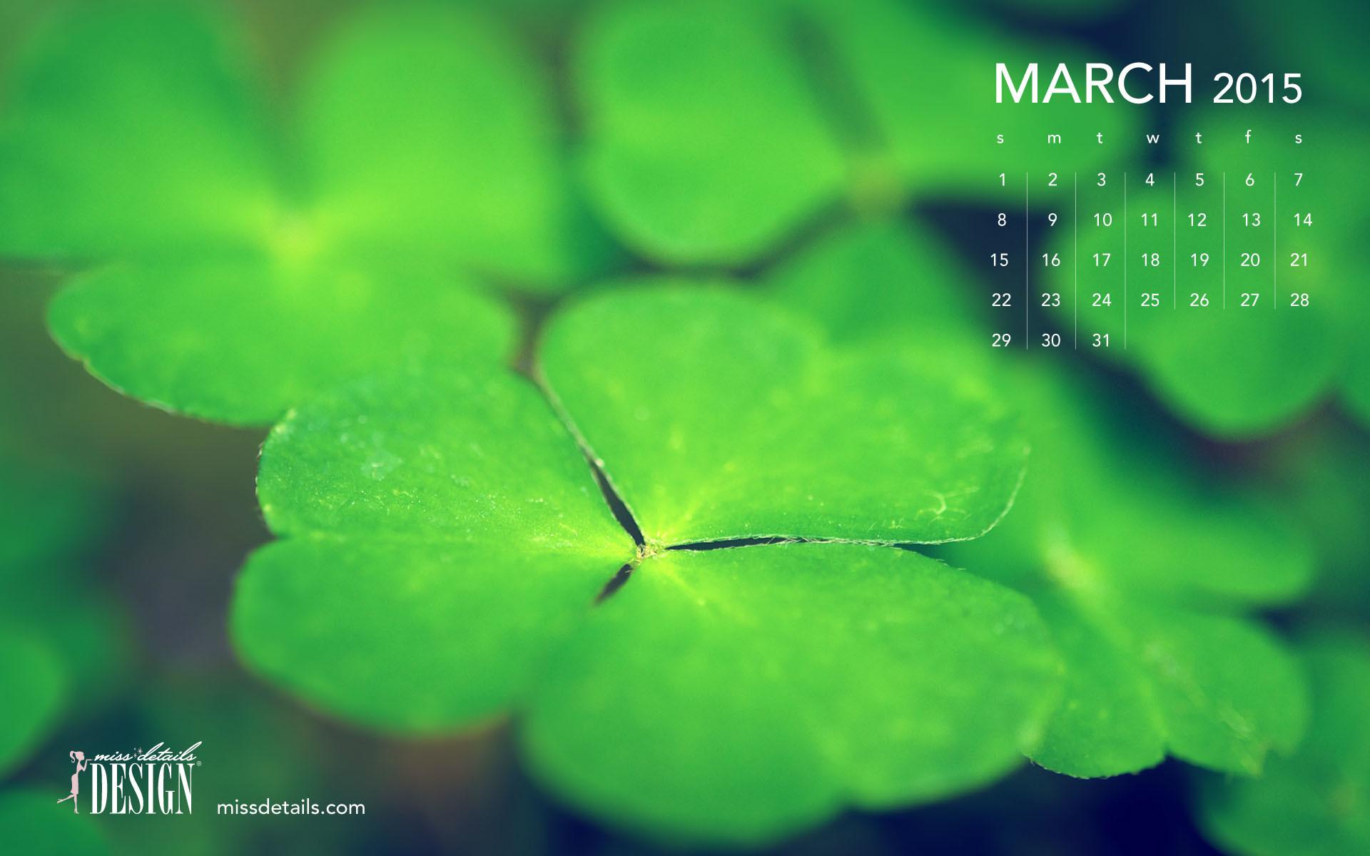 Res: 1920x1200, Free March 2015 desktop calendar from missdetails.com - Green Clovers