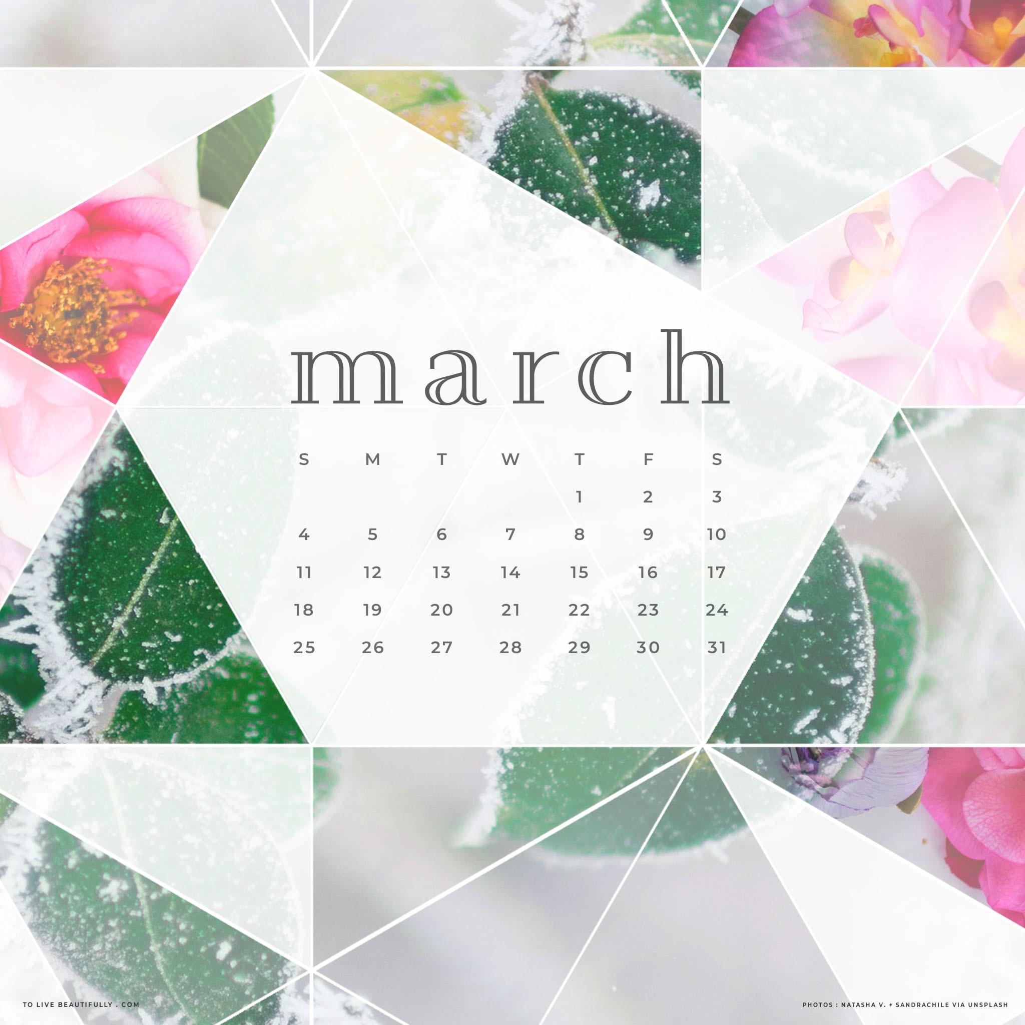 Res: 2048x2048, Free March 2018 Calendar Wallpaper