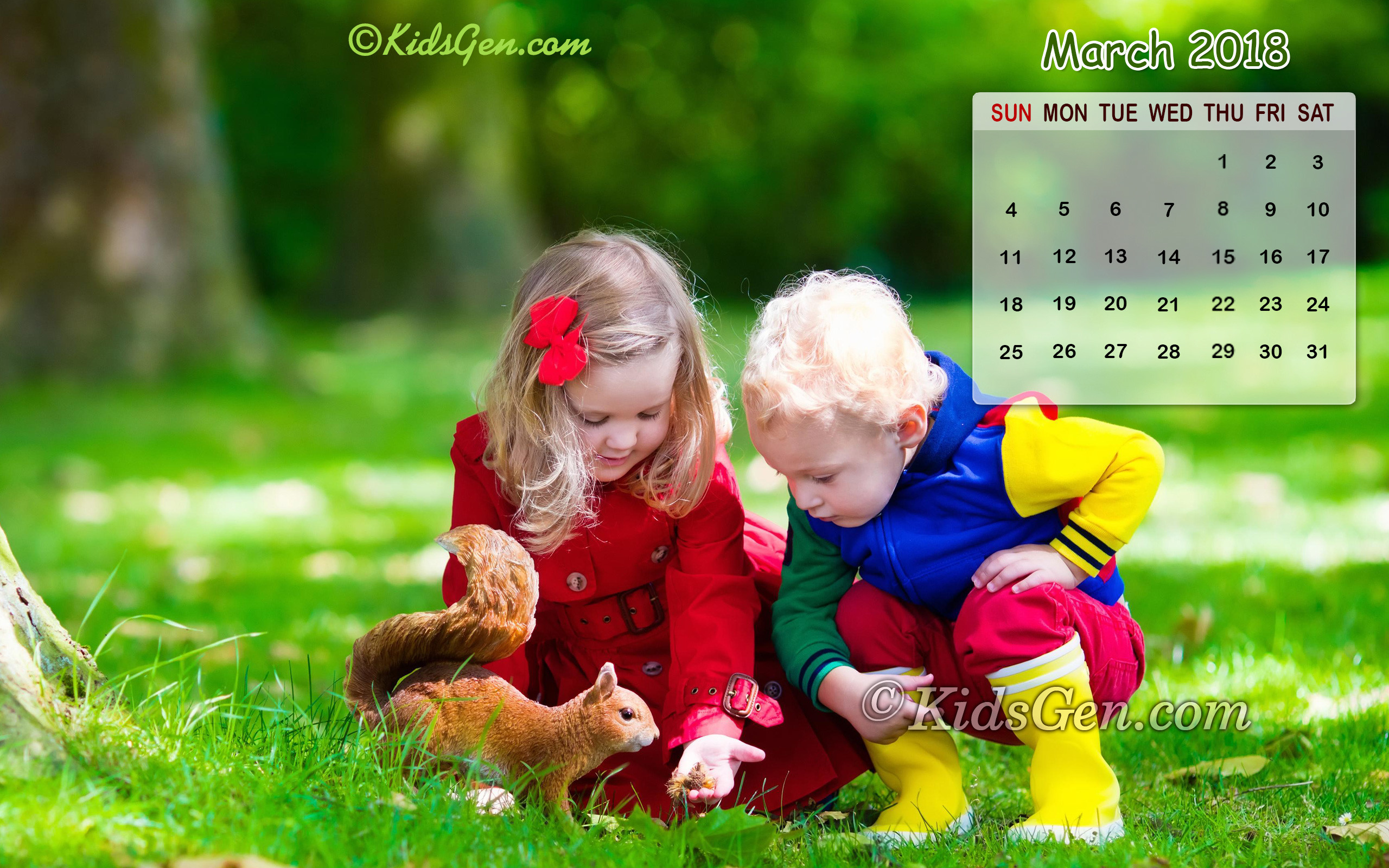Res: 2560x1600, March 2018 Calendar Wallpaper of two little kids