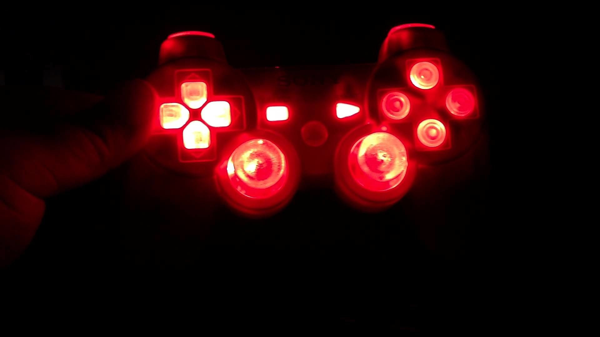 Res: 1920x1080, LED Modded Playstation 3 Controller With RED Lights On ALL Buttons (PS3)  2012 - YouTube