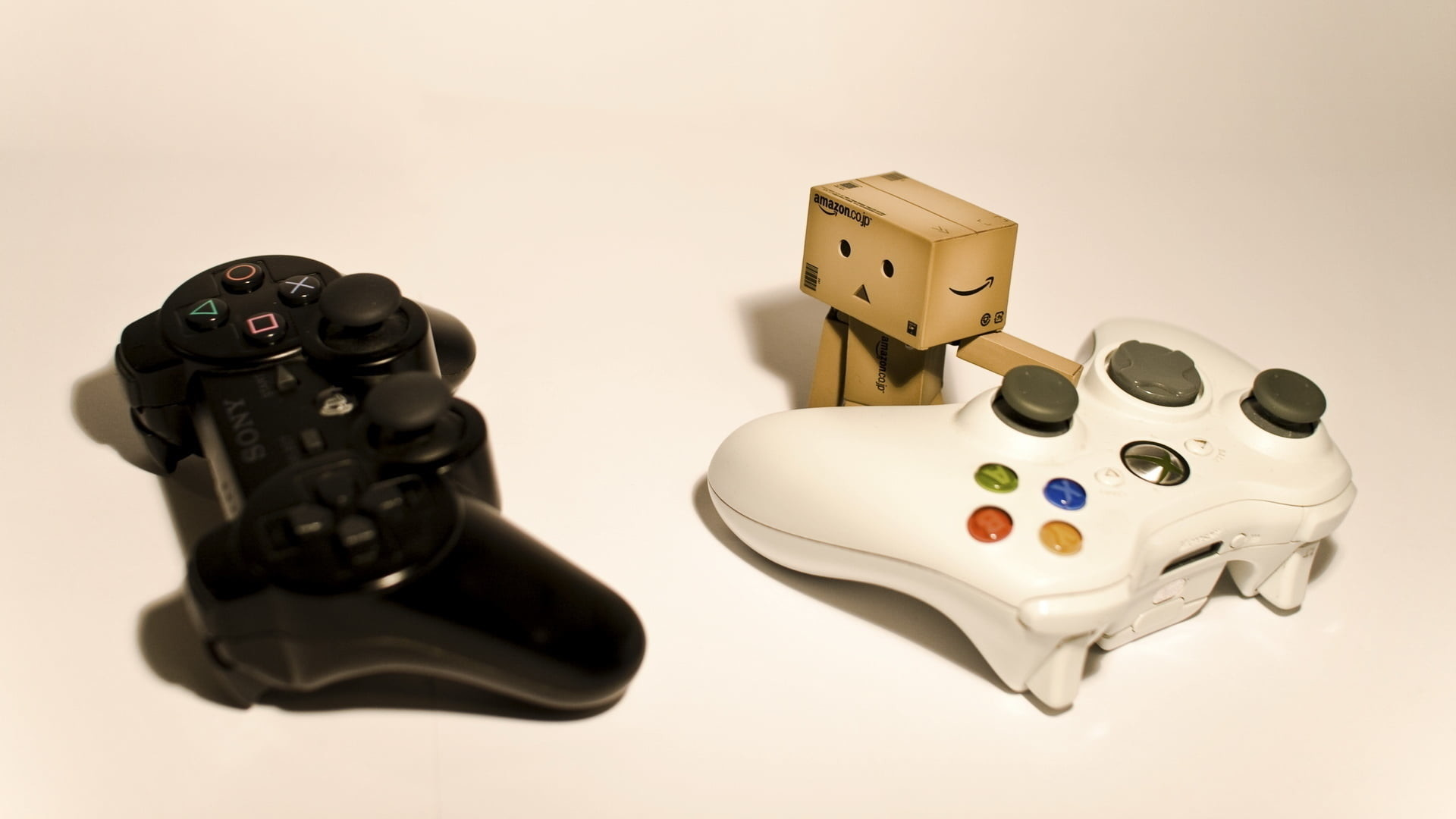 Res: 1920x1080, black Sony PS3 controller and white Xbox 360 controller with carton robot  HD wallpaper