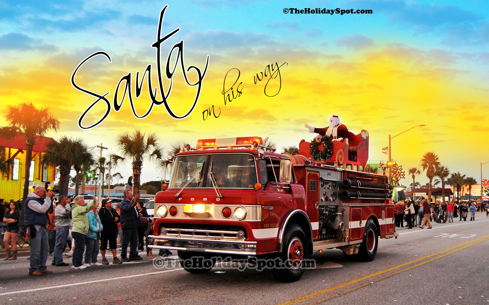 Res: 1920x1200, Christmas wallpaper of Santa coming to town on a firefighter truck.