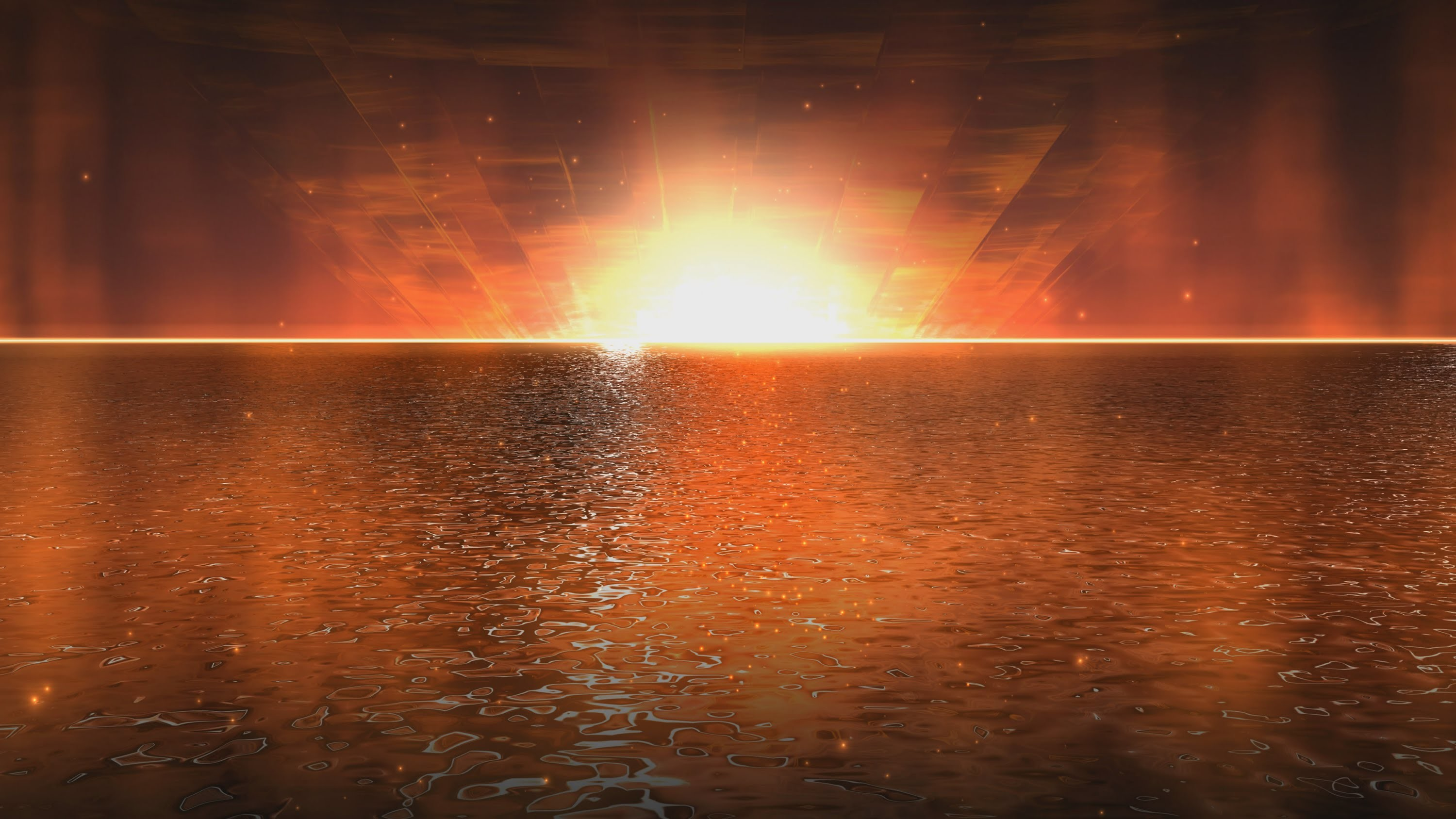 Res: 3000x1688, 4K Golden Water Sunset Animated Wallpaper 2160p