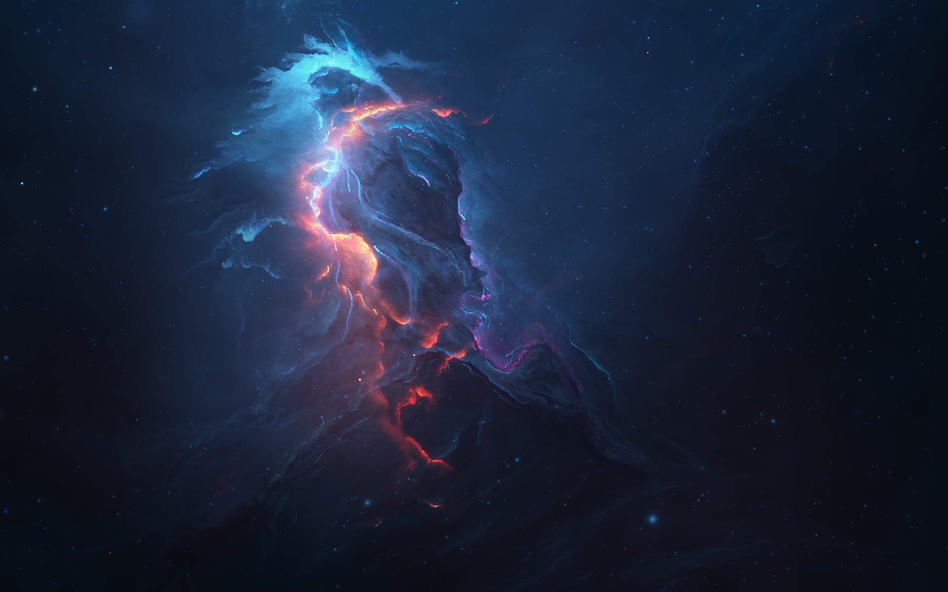 Res: 1920x1200,  Sci Fi - Nebula Stars Blue Space Wallpaper
