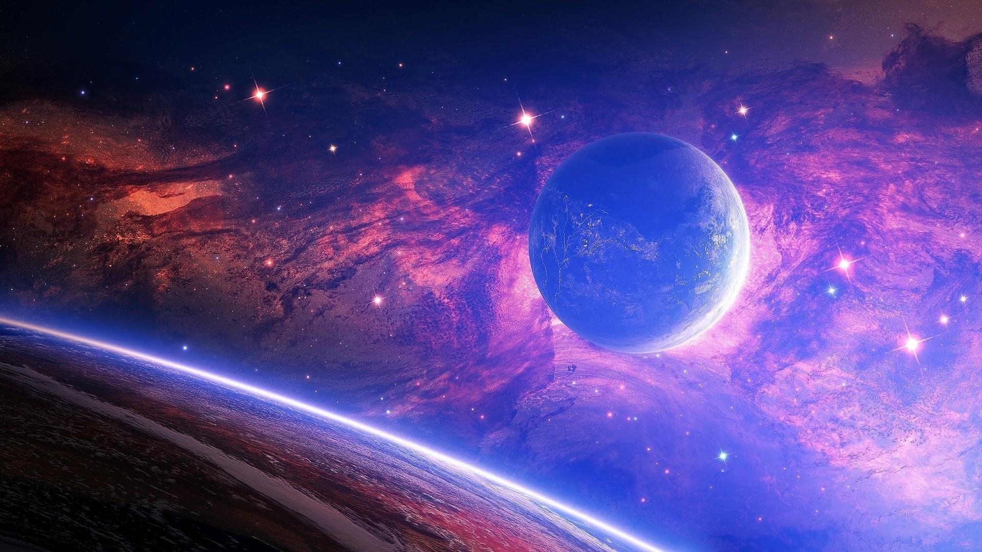 Res: 1920x1080,  Preview wallpaper planet, light, spots, space
