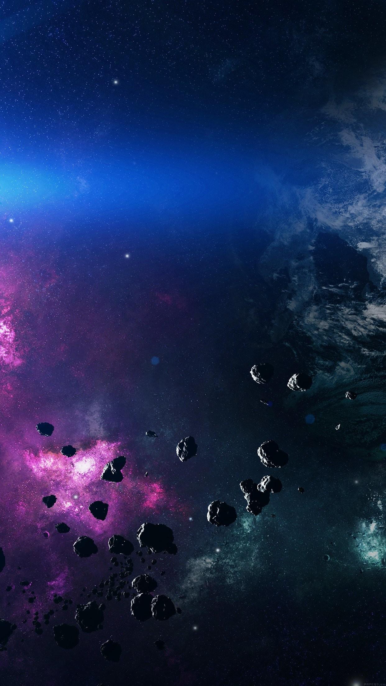 Res: 1242x2208, Space Asteroids Belt Purple iPhone 6 Plus HD Wallpaper