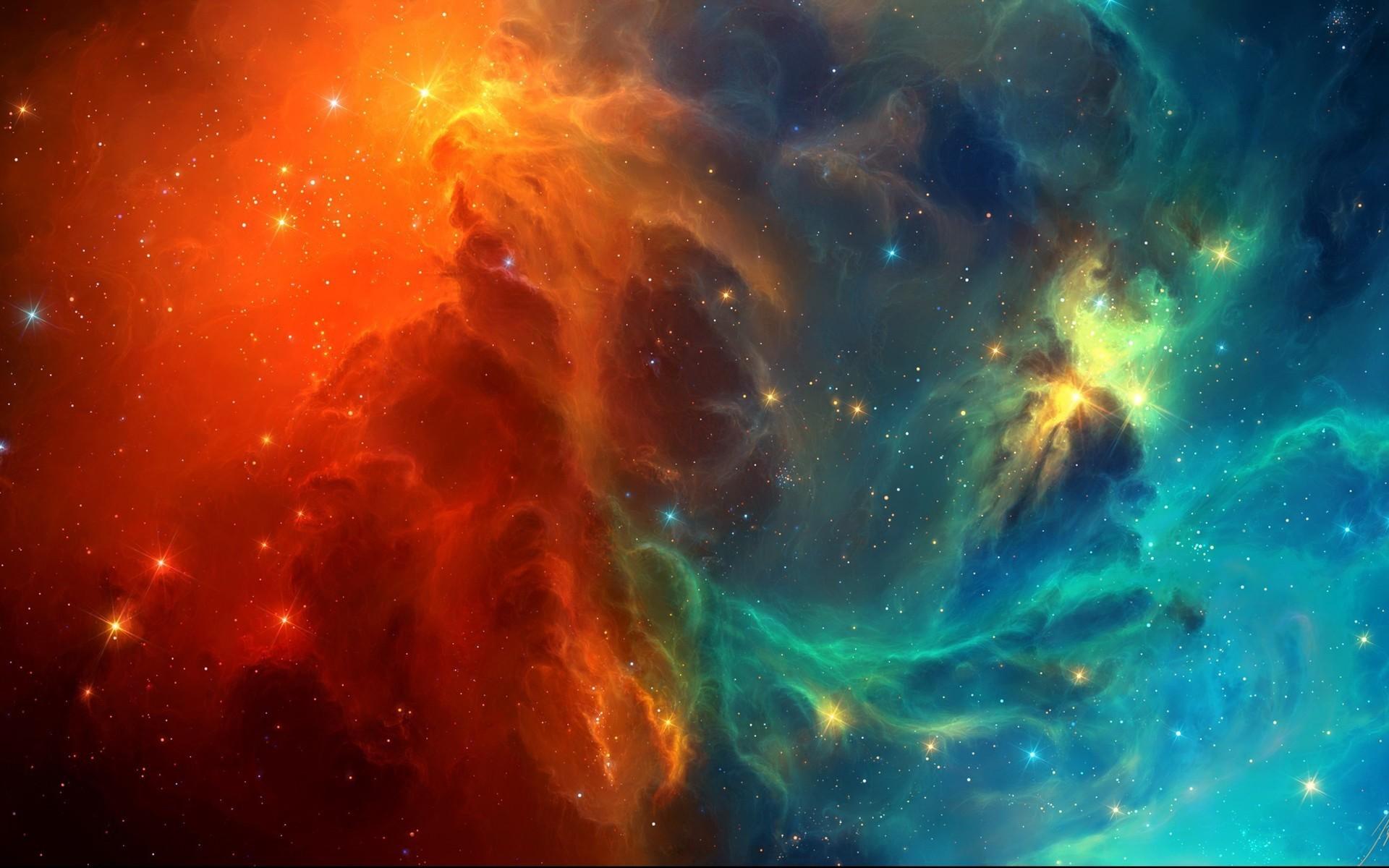 Res: 1920x1200, Orange & Blue Space