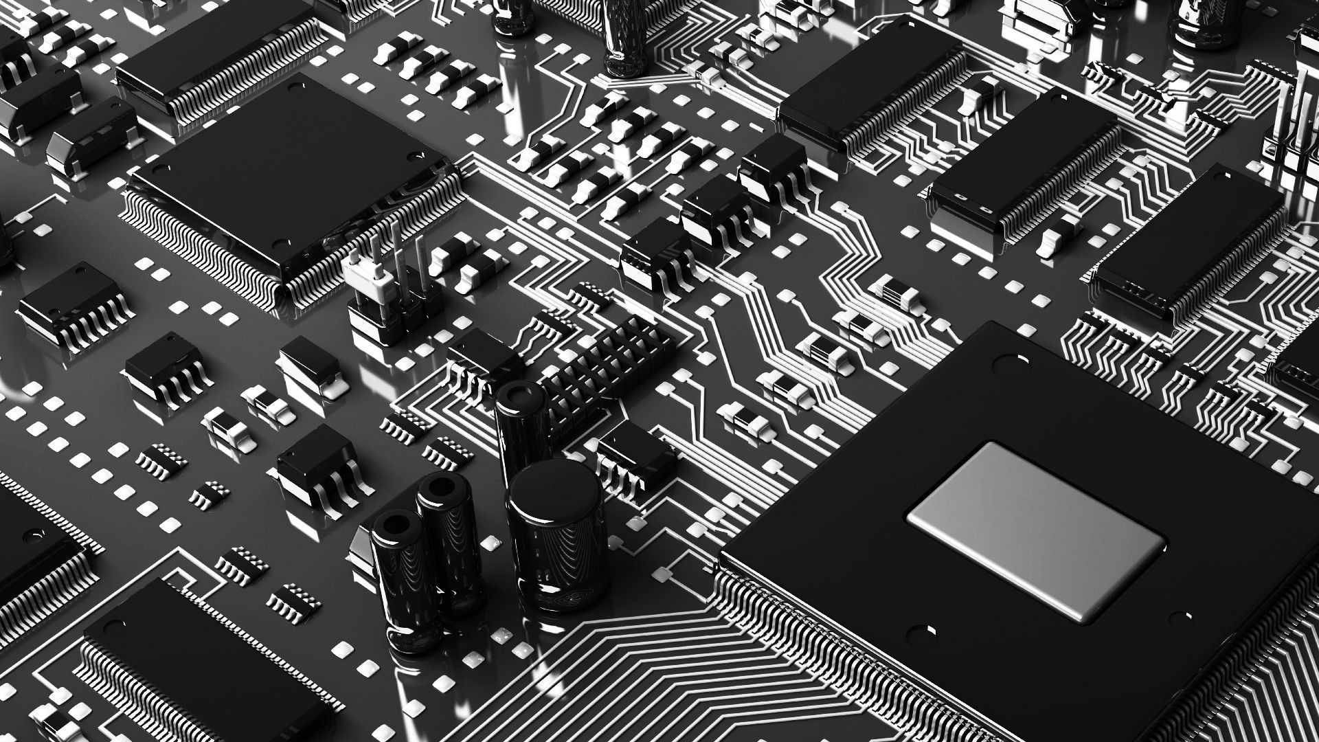 Res: 1920x1080, Computers Black and white photo of a computer chip